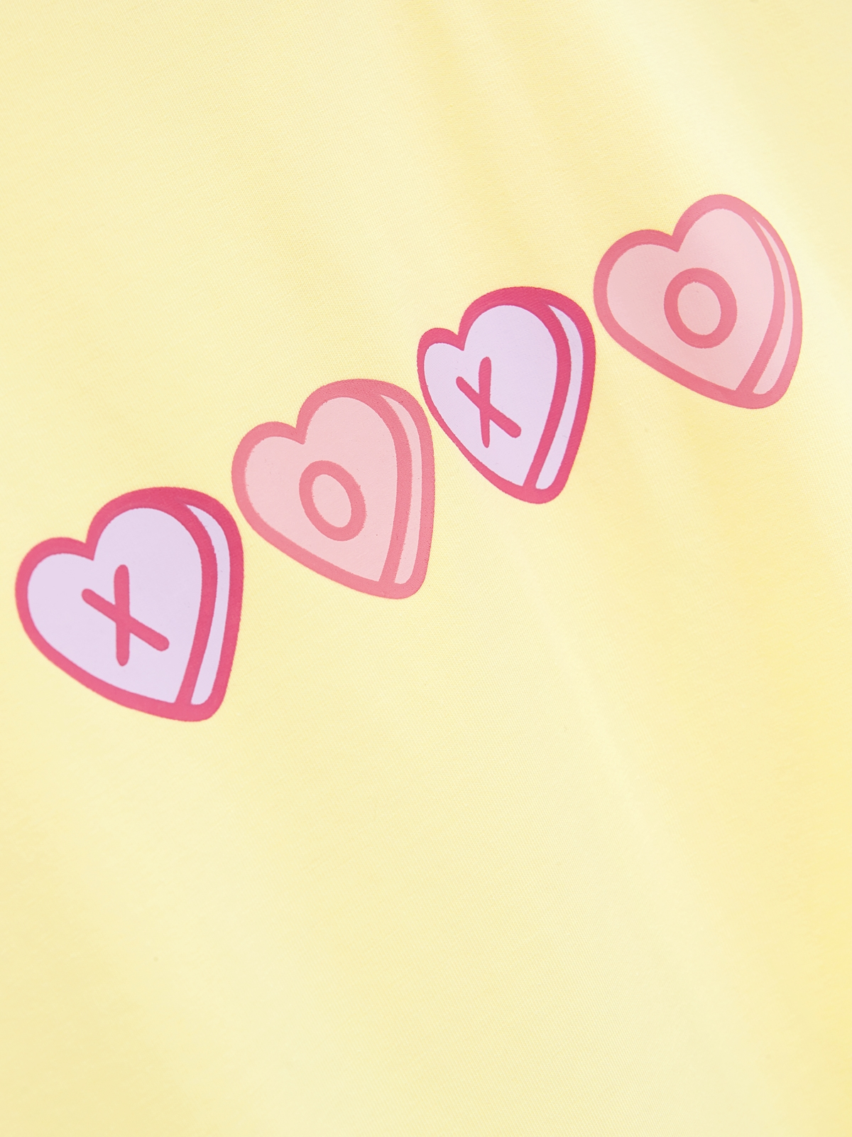 XOXO Heart Crop Graphic Tee Yellow