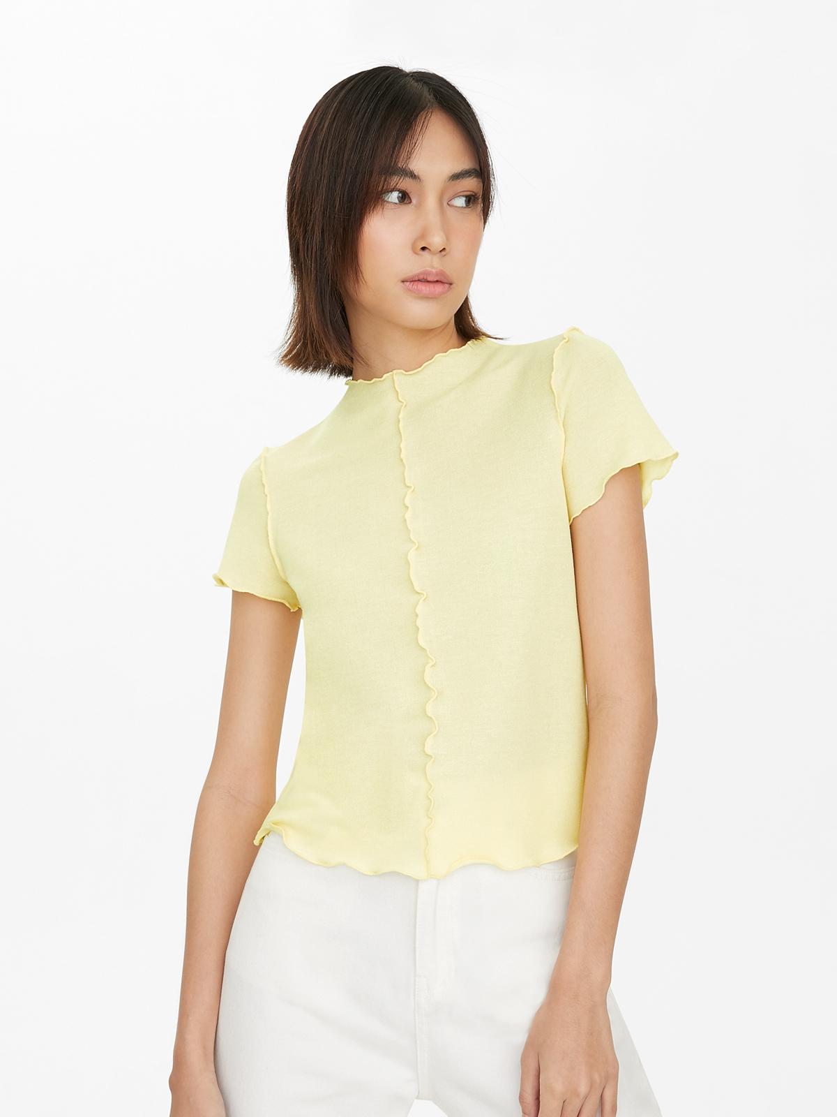 Center Seam Trimmed Short Sleeve Tee Yellow