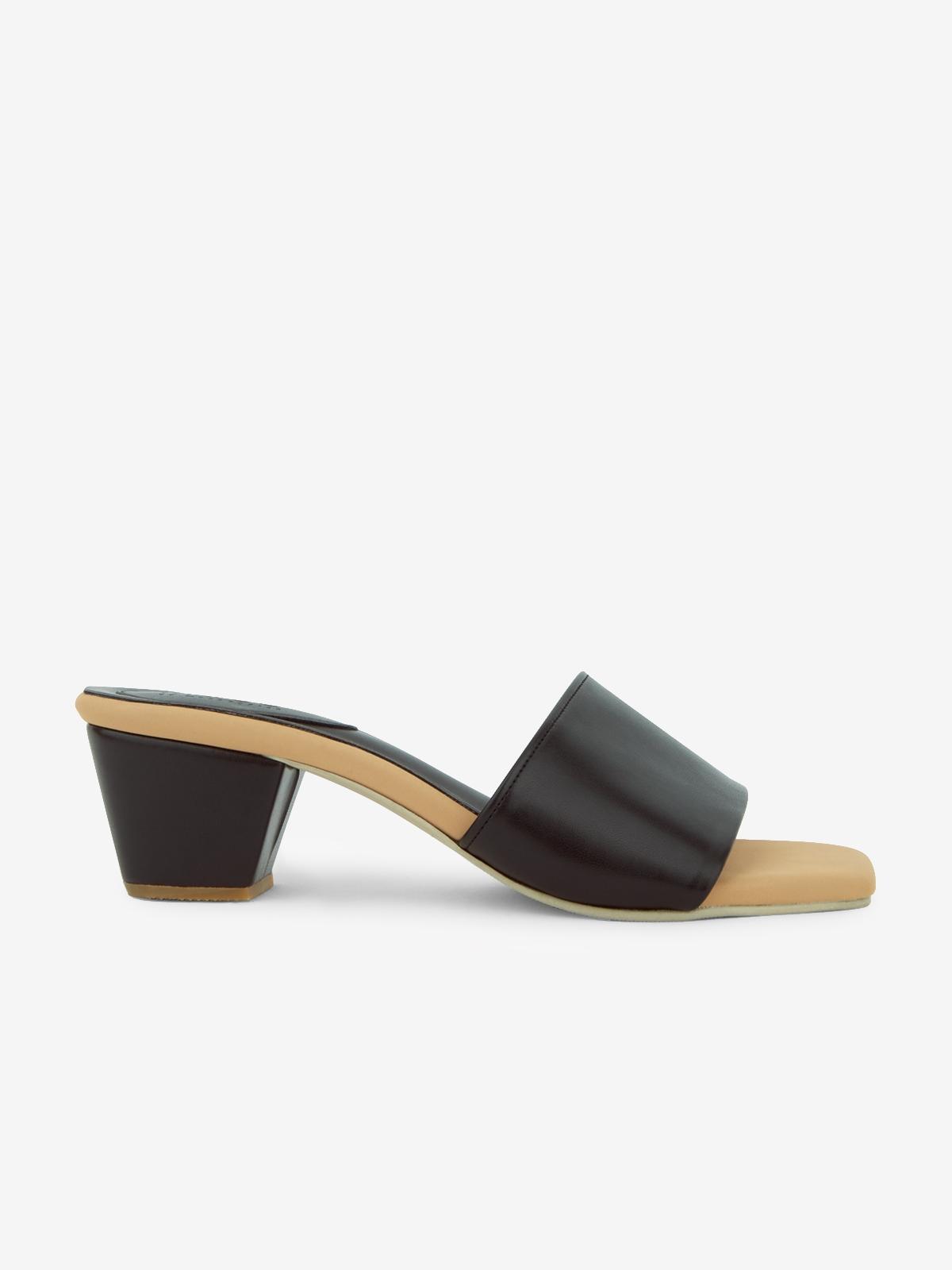 Square Toe Heel Slippers Black