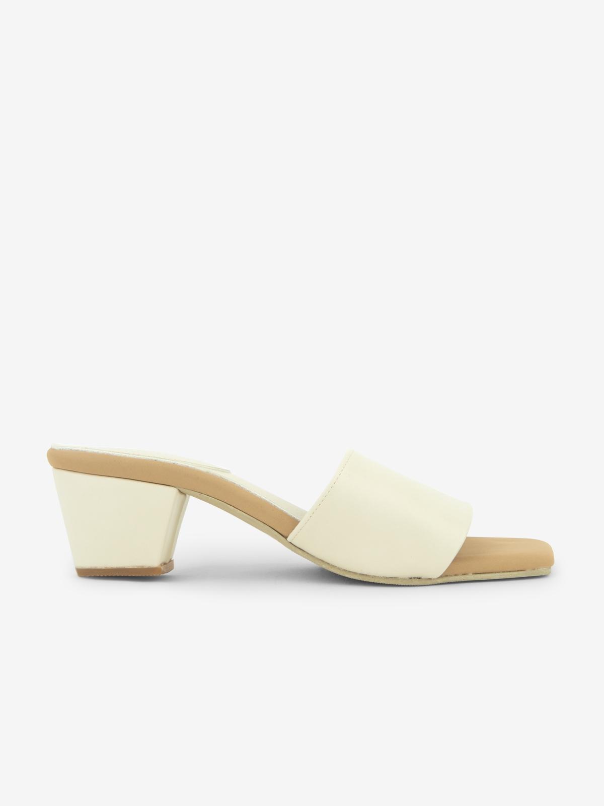Square Toe Heel Slippers White
