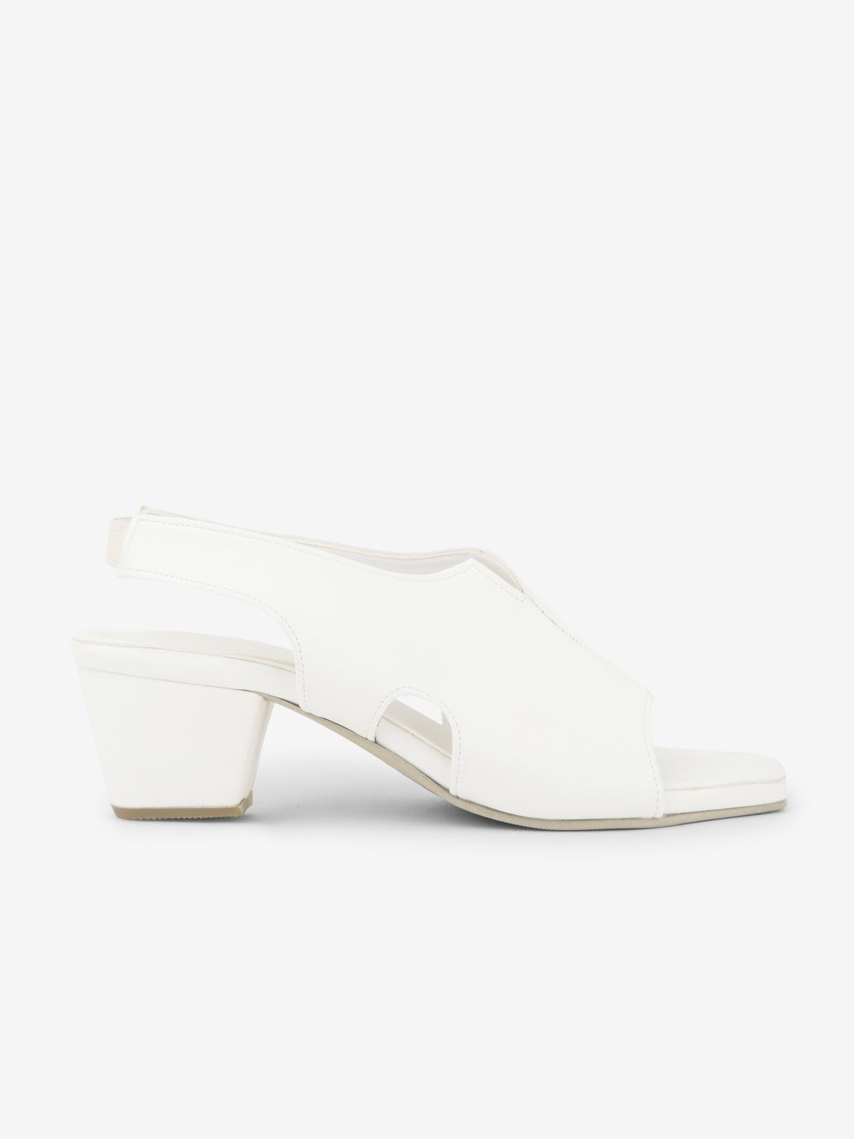 Mosstories Decon Square Toe Heels White