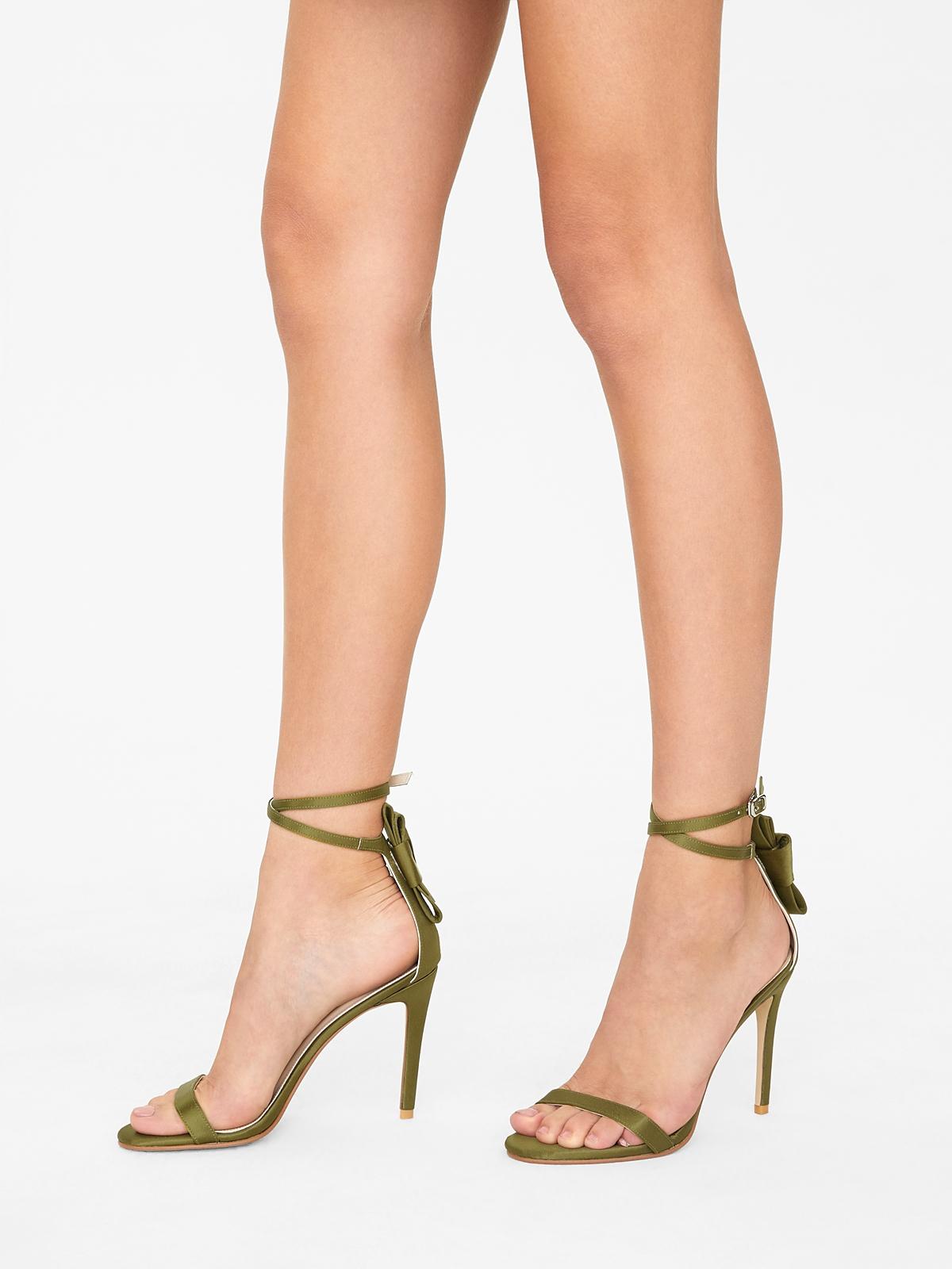Rarinn Bow Strapy Heels Olive