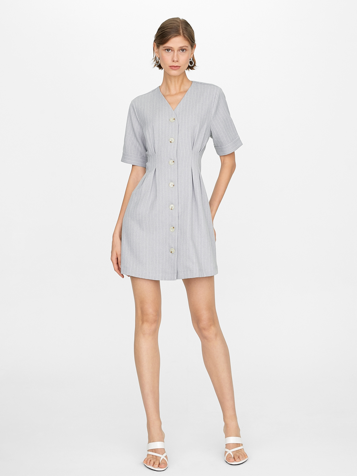Pinstripe Cinched Button Up Dress Light Grey