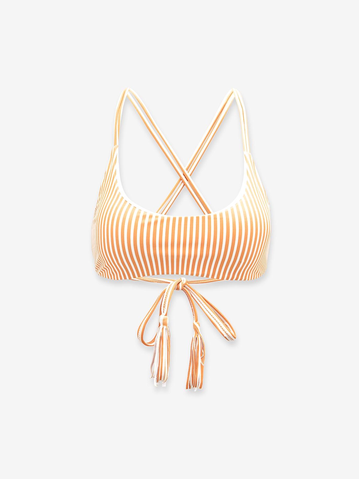 Tassel Cross Back Bikini Top Orange