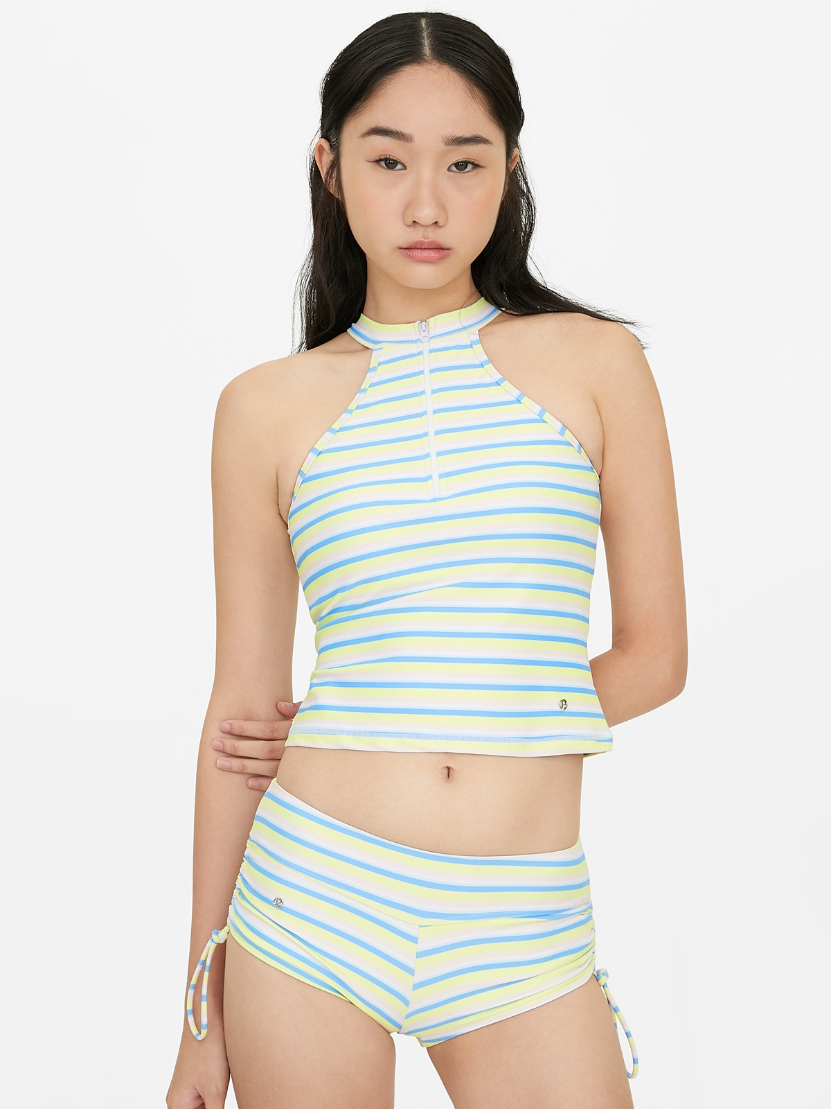 Halter Zip Up Stripe Swim Top Yellow