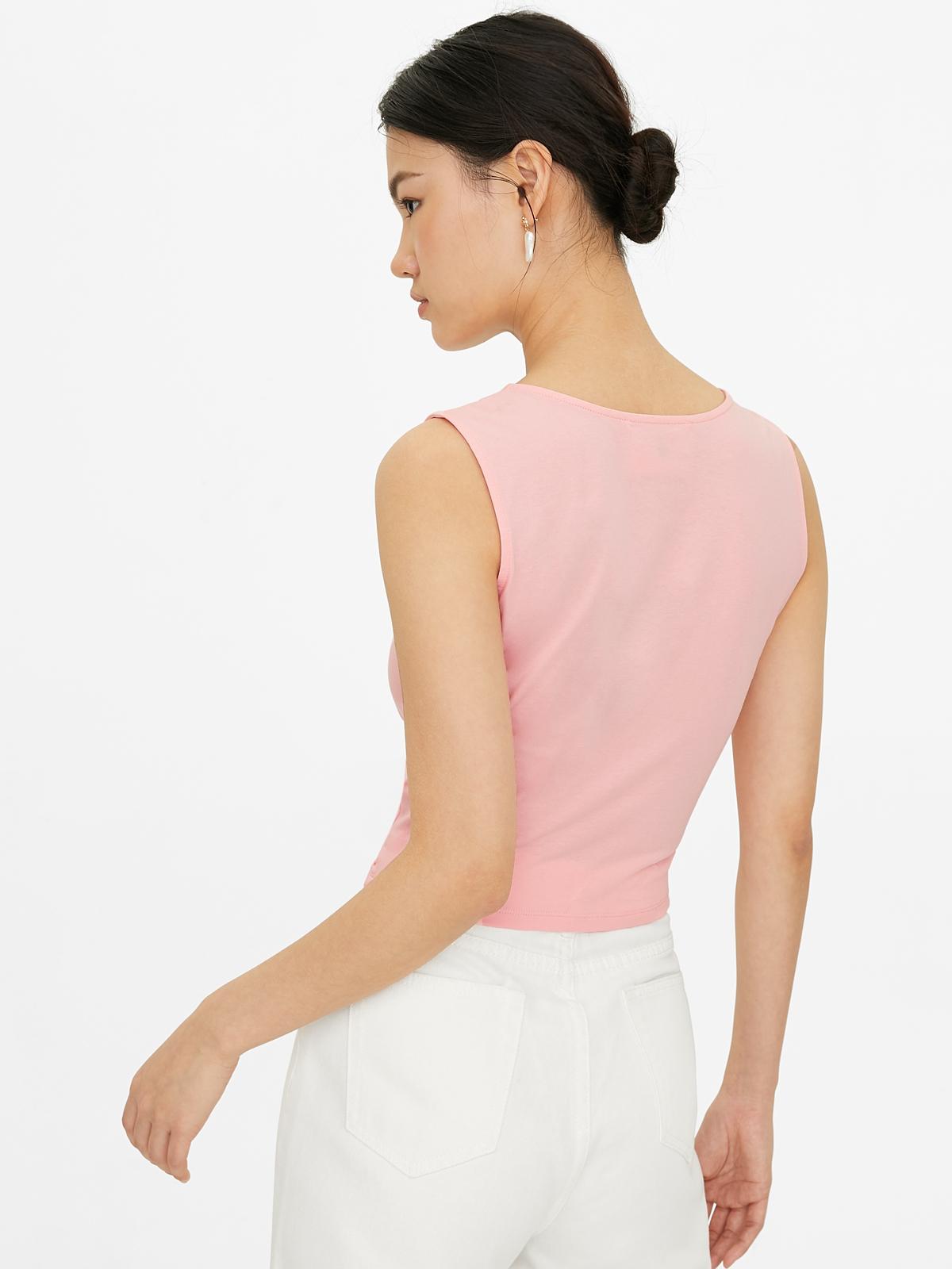 Sleeveless Knit Drawstring Crop Top Pink