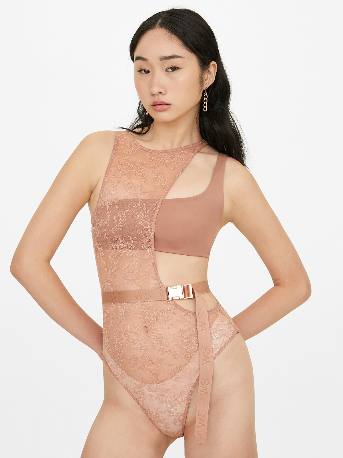 Sabina Woonsen Side Cut Out Bodysuit Copper