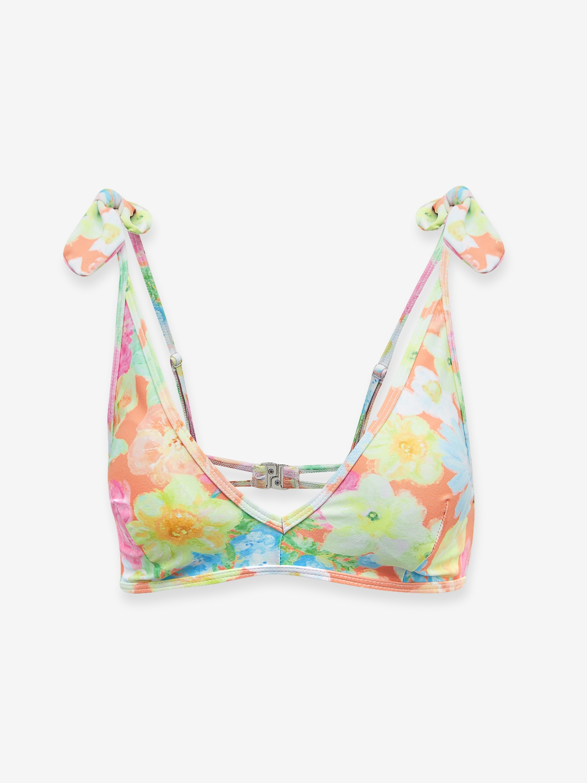 Floral Shoulder Bow Bikini Top Orange