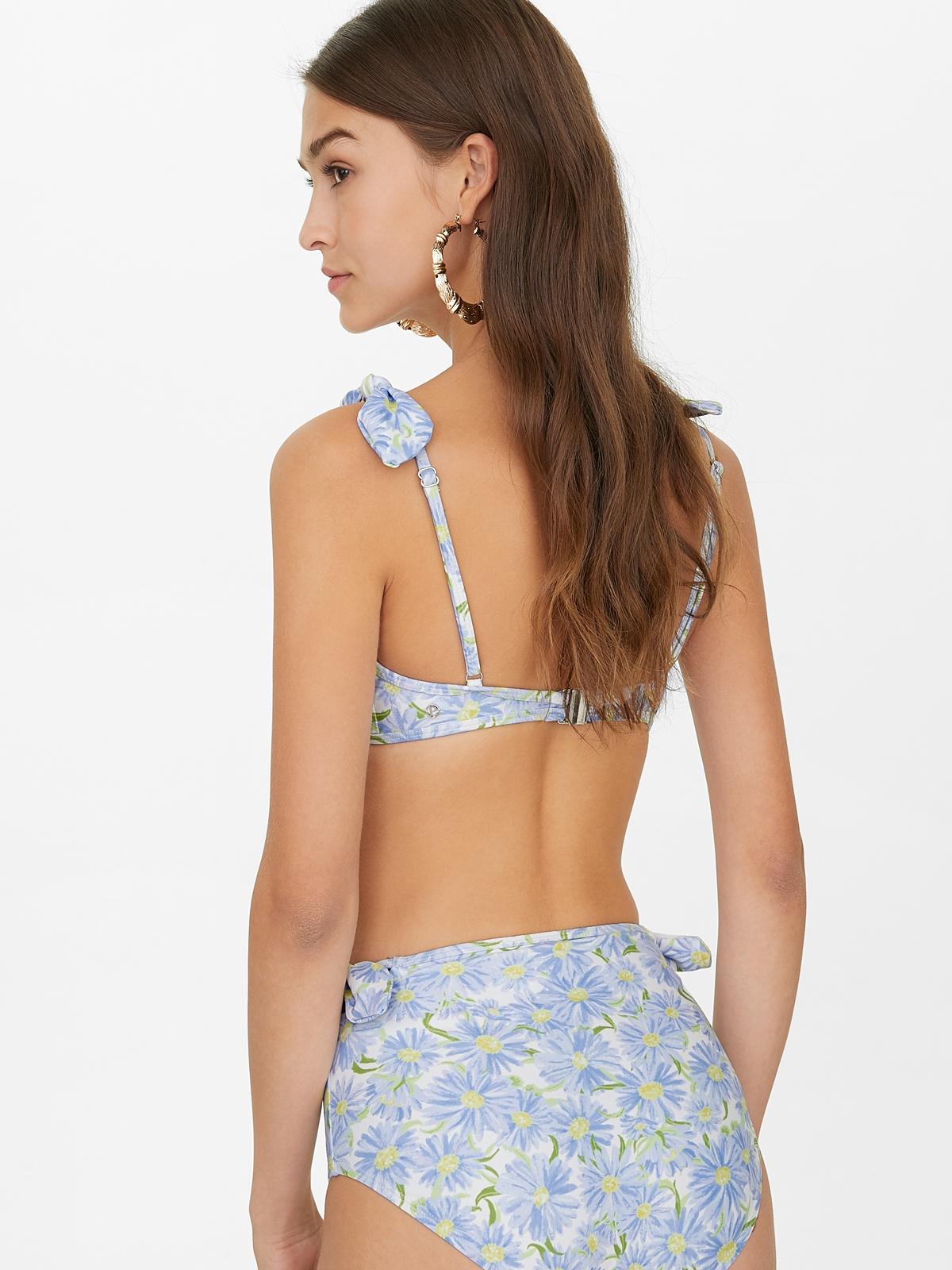 Floral Shoulder Bow Bikini Top Blue