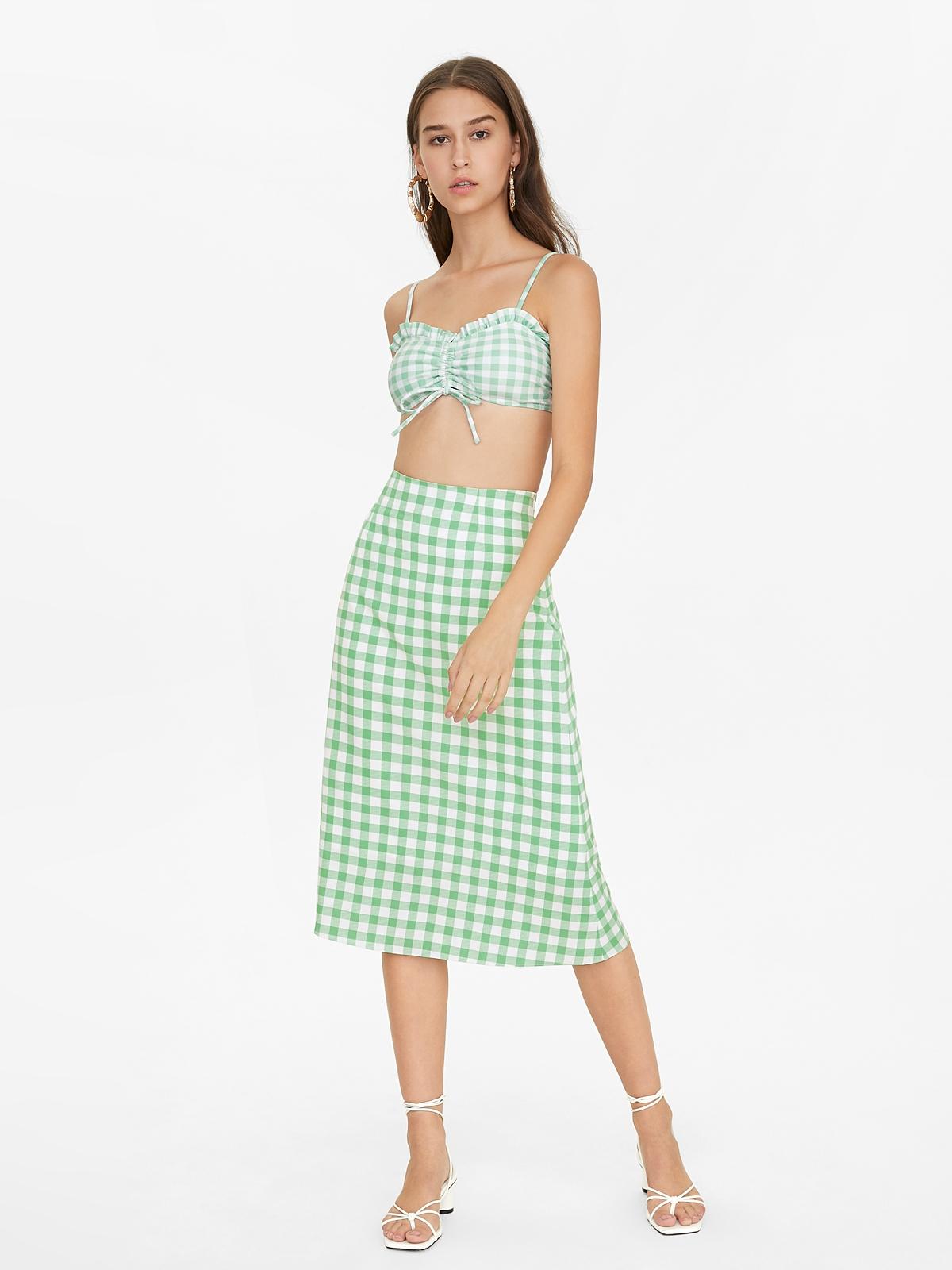 Gingham Ruched Bikini Top Green