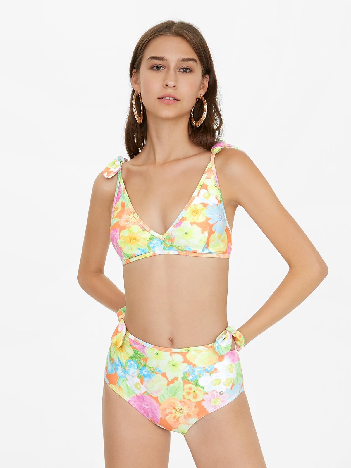 Floral Bow Bikini Bottom Orange