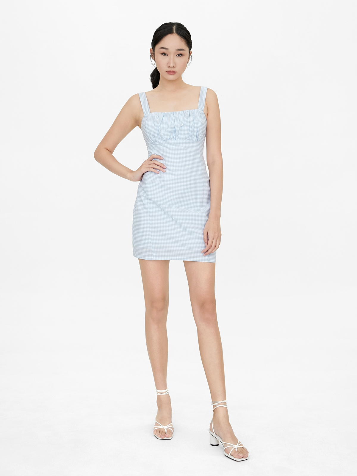 Gingham Square Neck Fitted Dress Blue