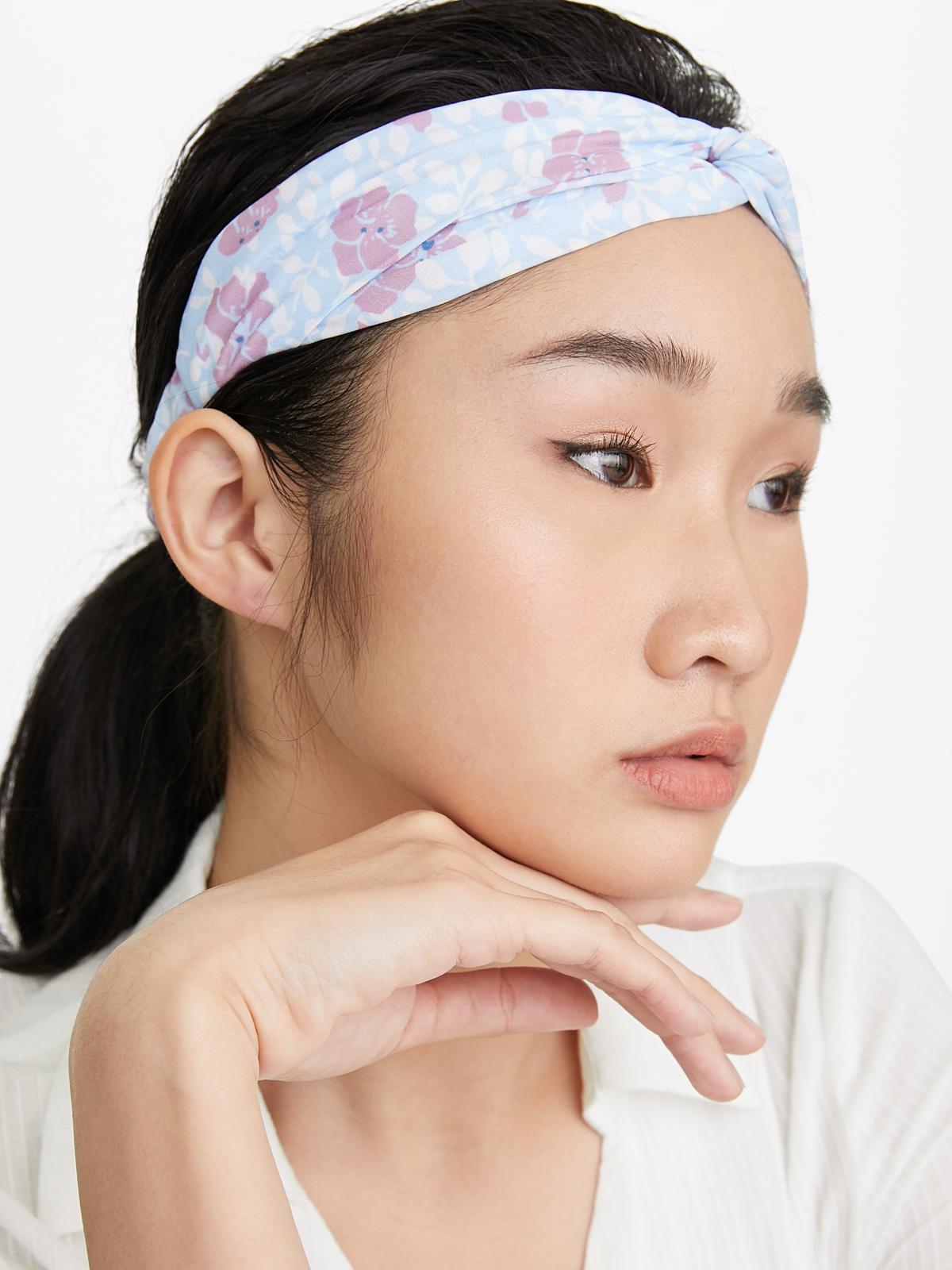 Floral Stretch Headband Black