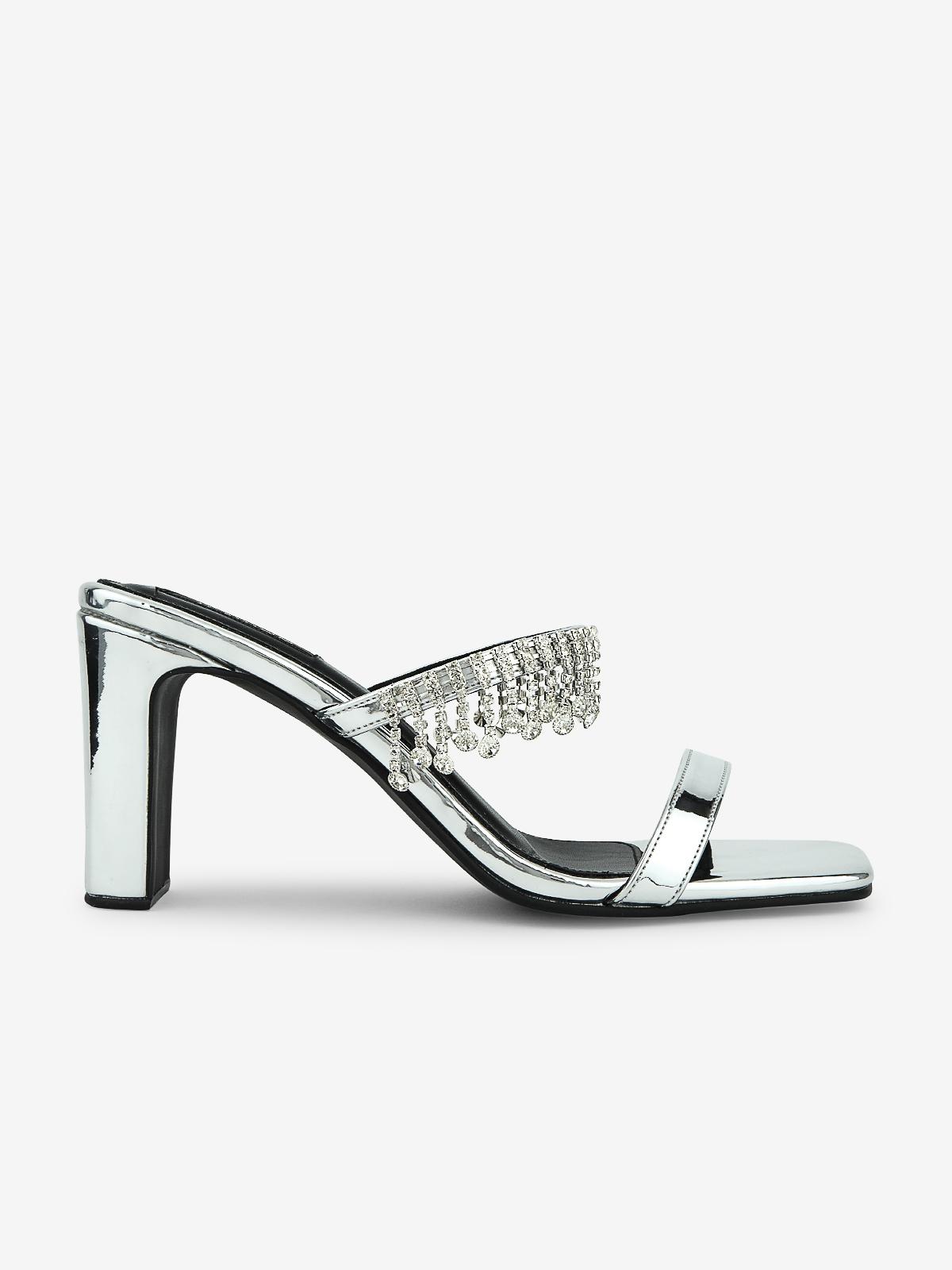 Rarinn Diamante Strap Heels Silver