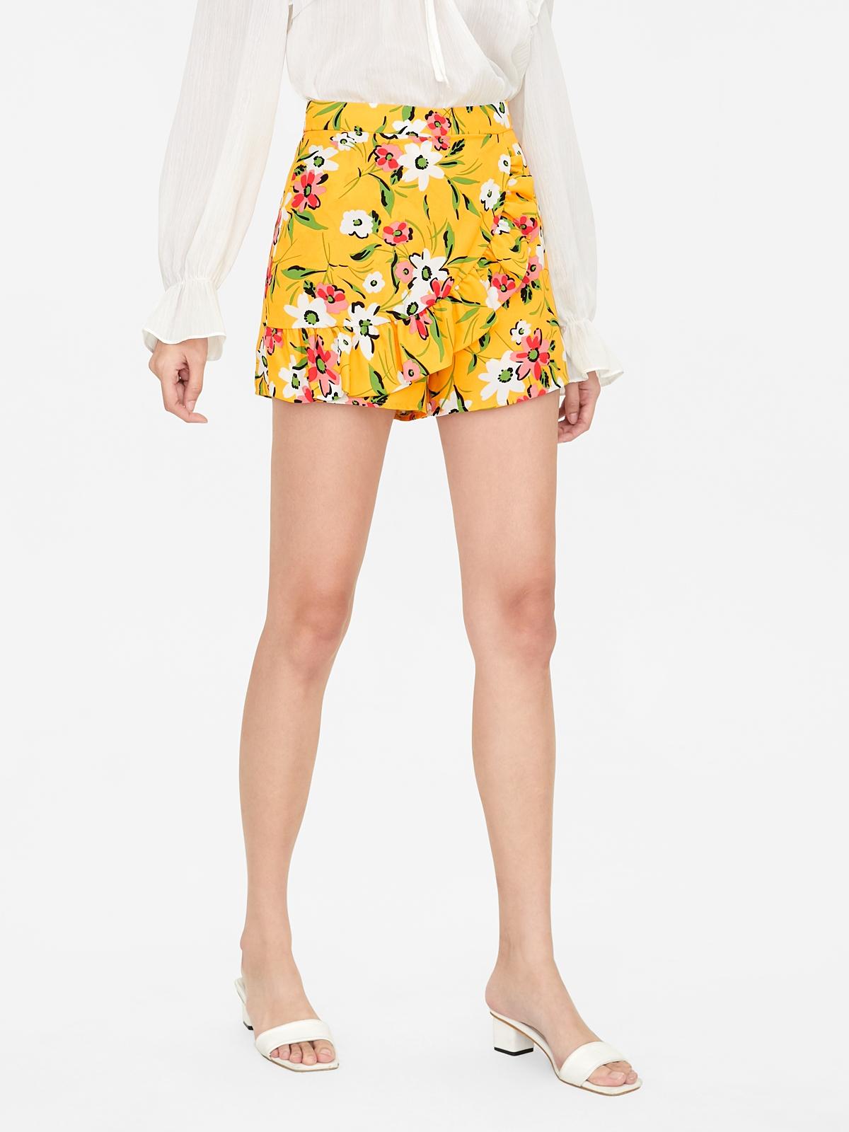 Floral Side Ruffle Skort Yellow