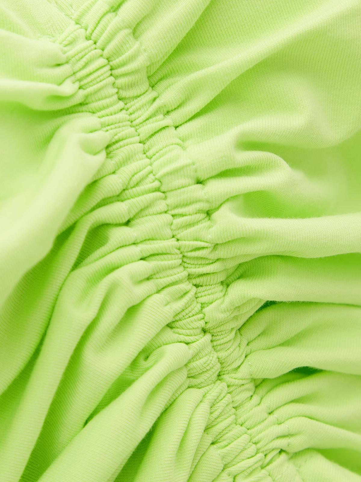 Sleeveless Knit Drawstring Crop Top Green