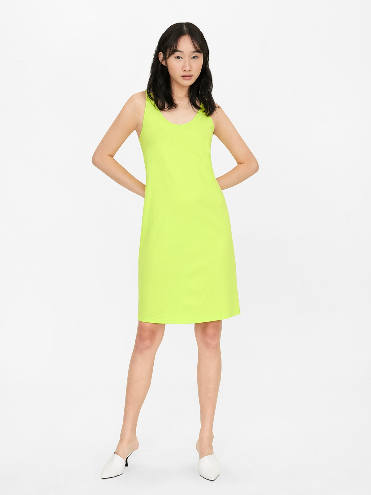 Sleeveless Straight Jersey Dress Green