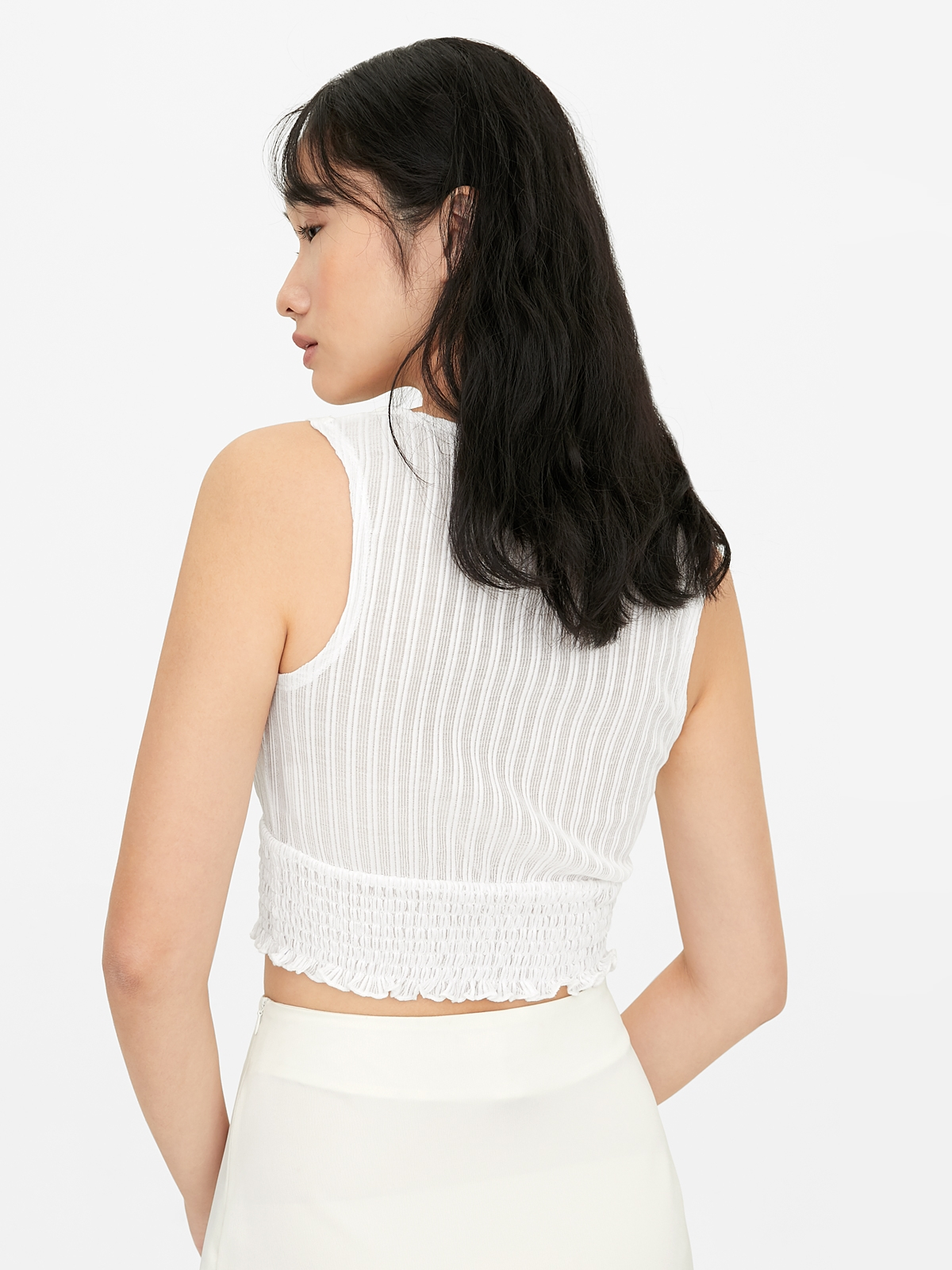 V Neck Knitted Surplice Top White