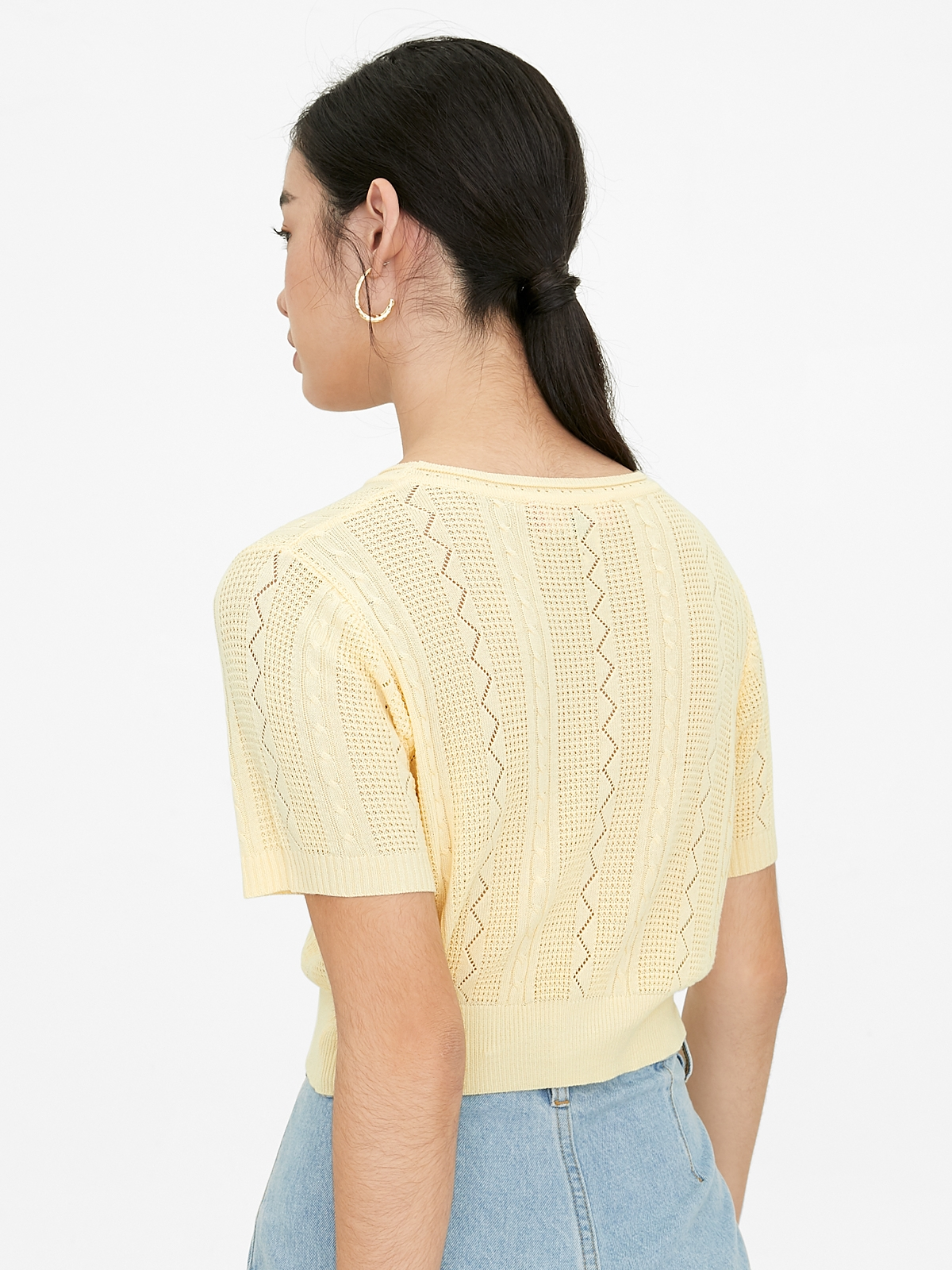 Knitted Crop Top Yellow