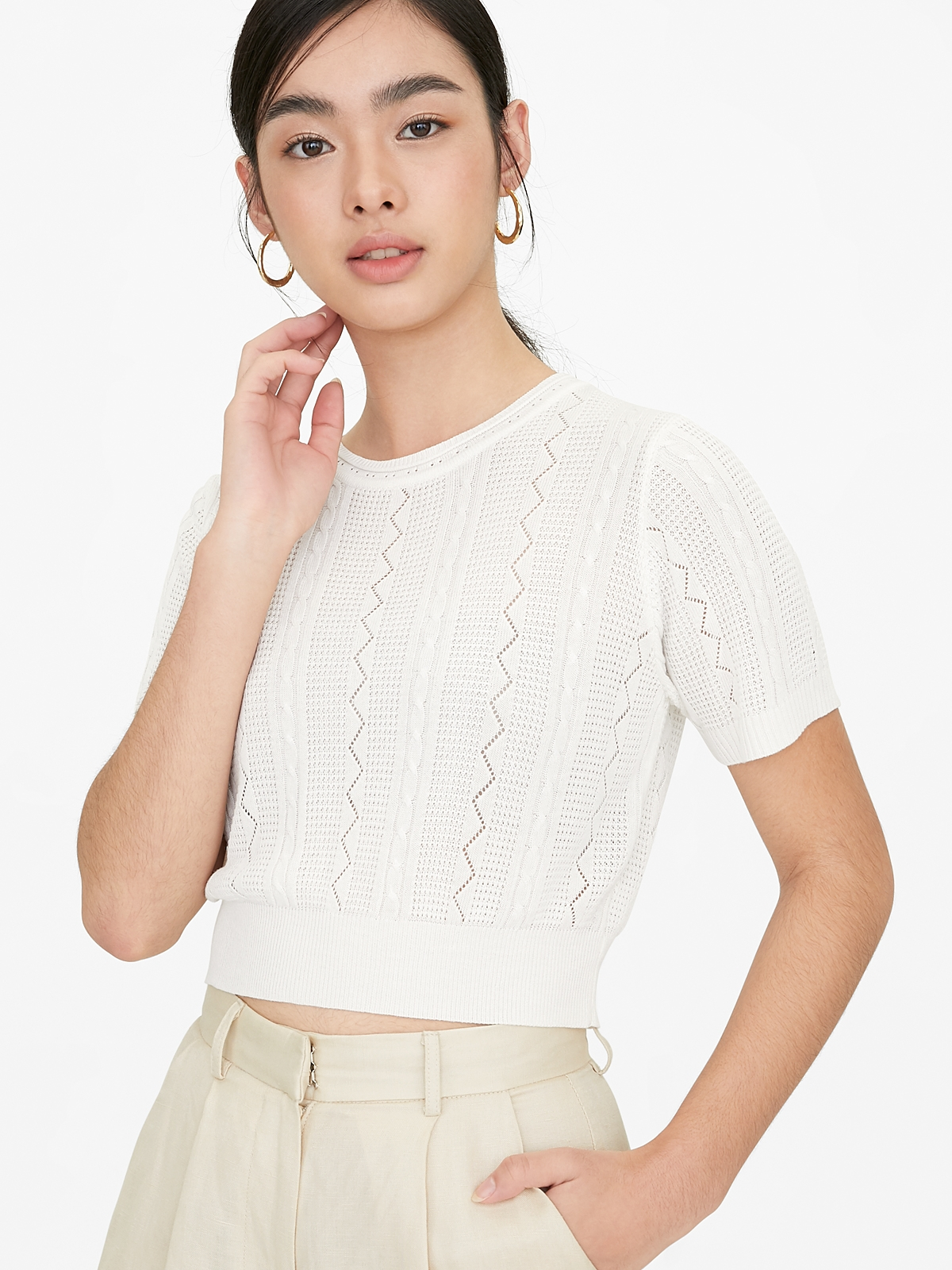 Knitted Crop Top White