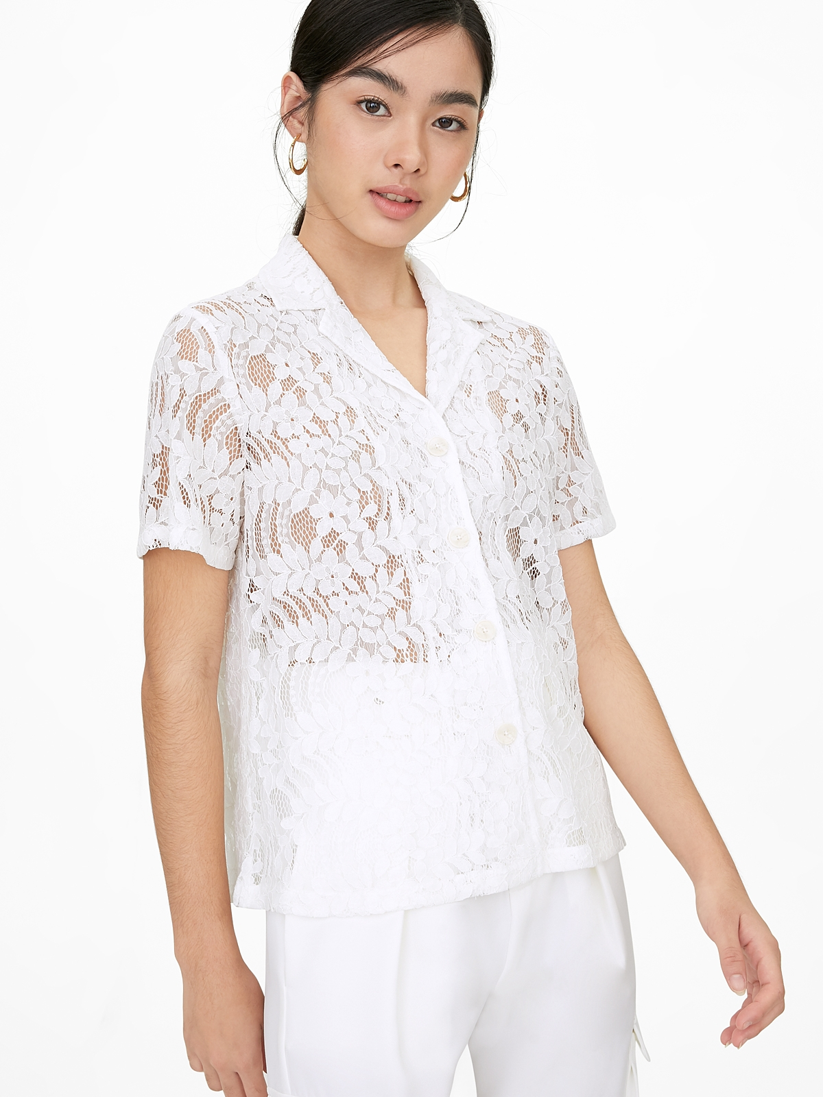 Lace Button Up Short Sleeve Shirt White