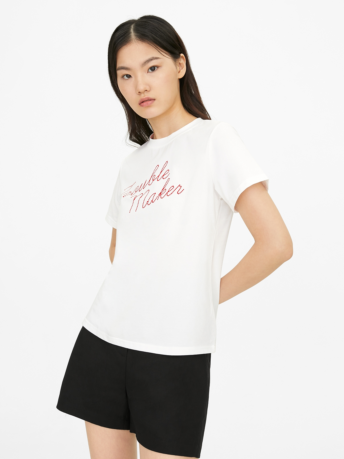 Trouble Maker Graphic Tee White