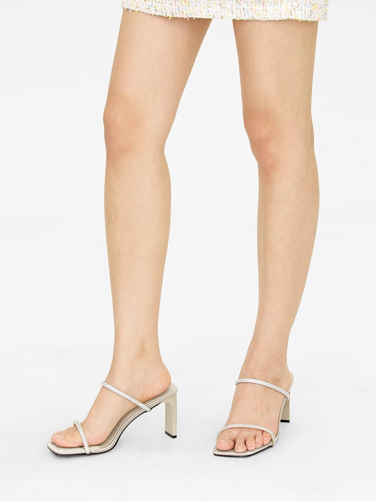 MINX Diamante Double Strap Heels Beige