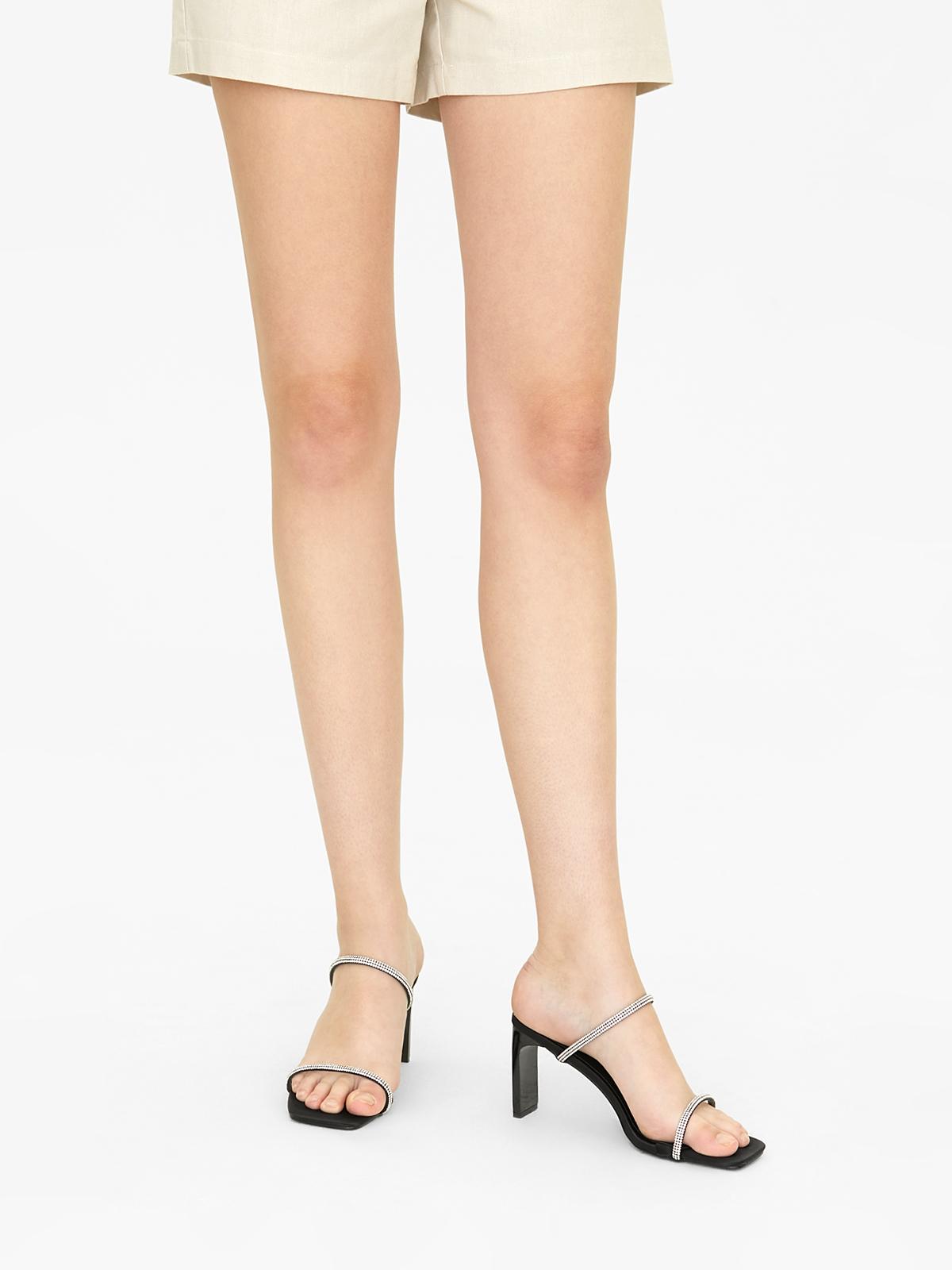 MINX Diamante Double Strap Heels Black