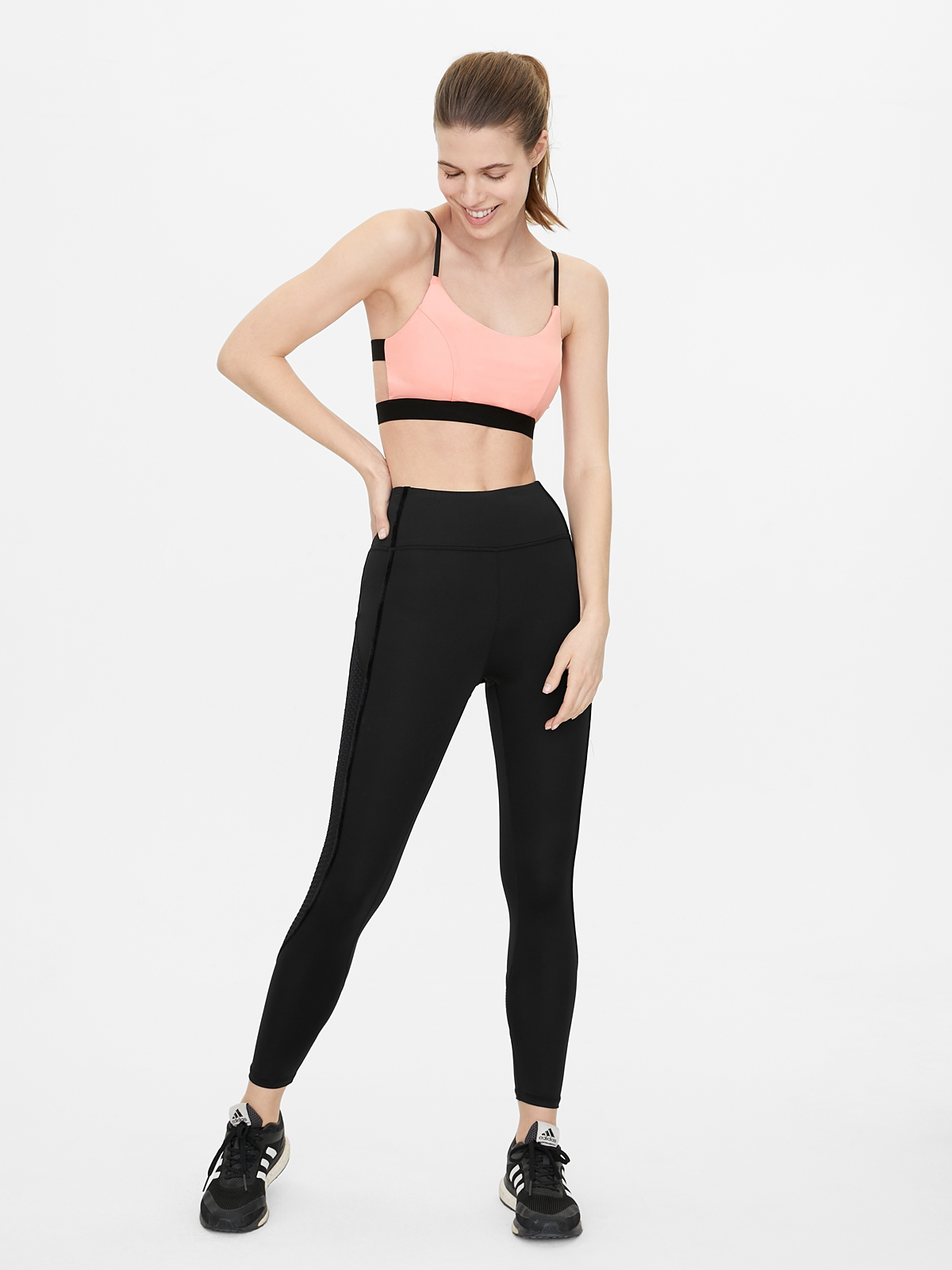Cross Back Scoop Neck Sports Bra Coral Red
