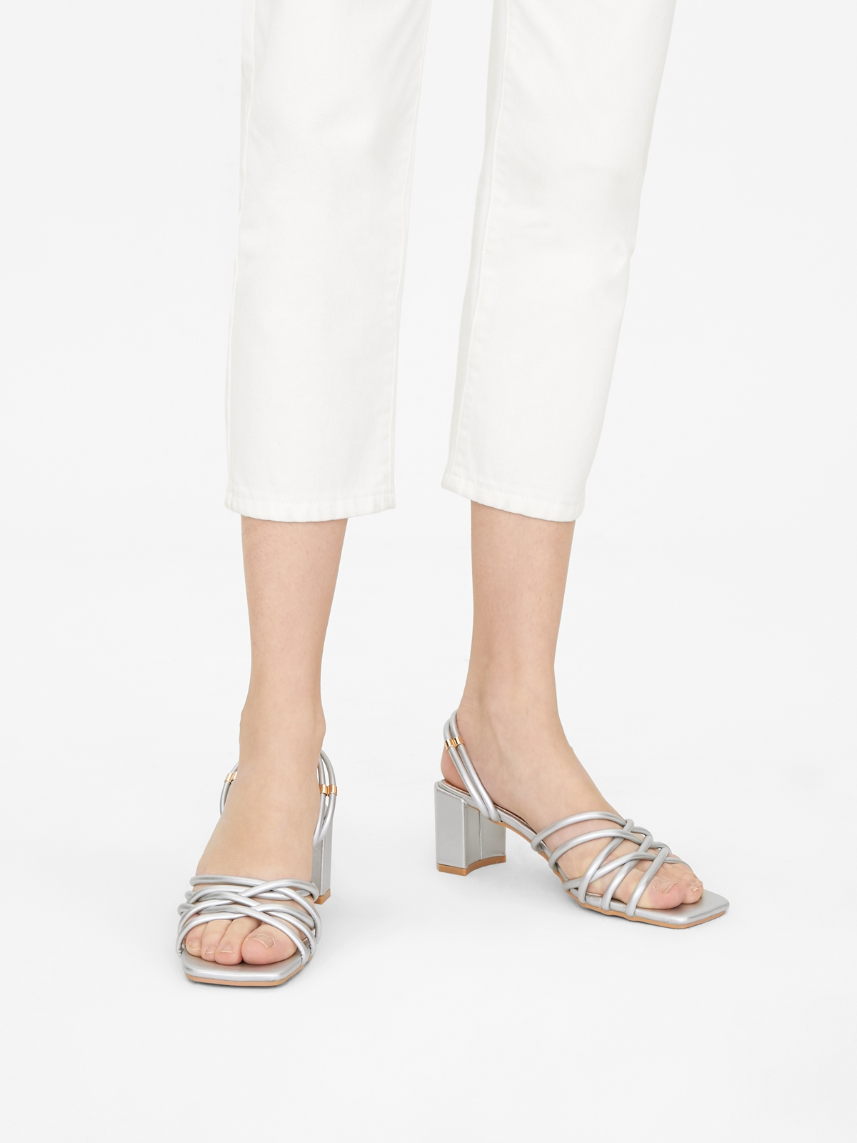 Rocket Strappy Squared Toe Heels Silver