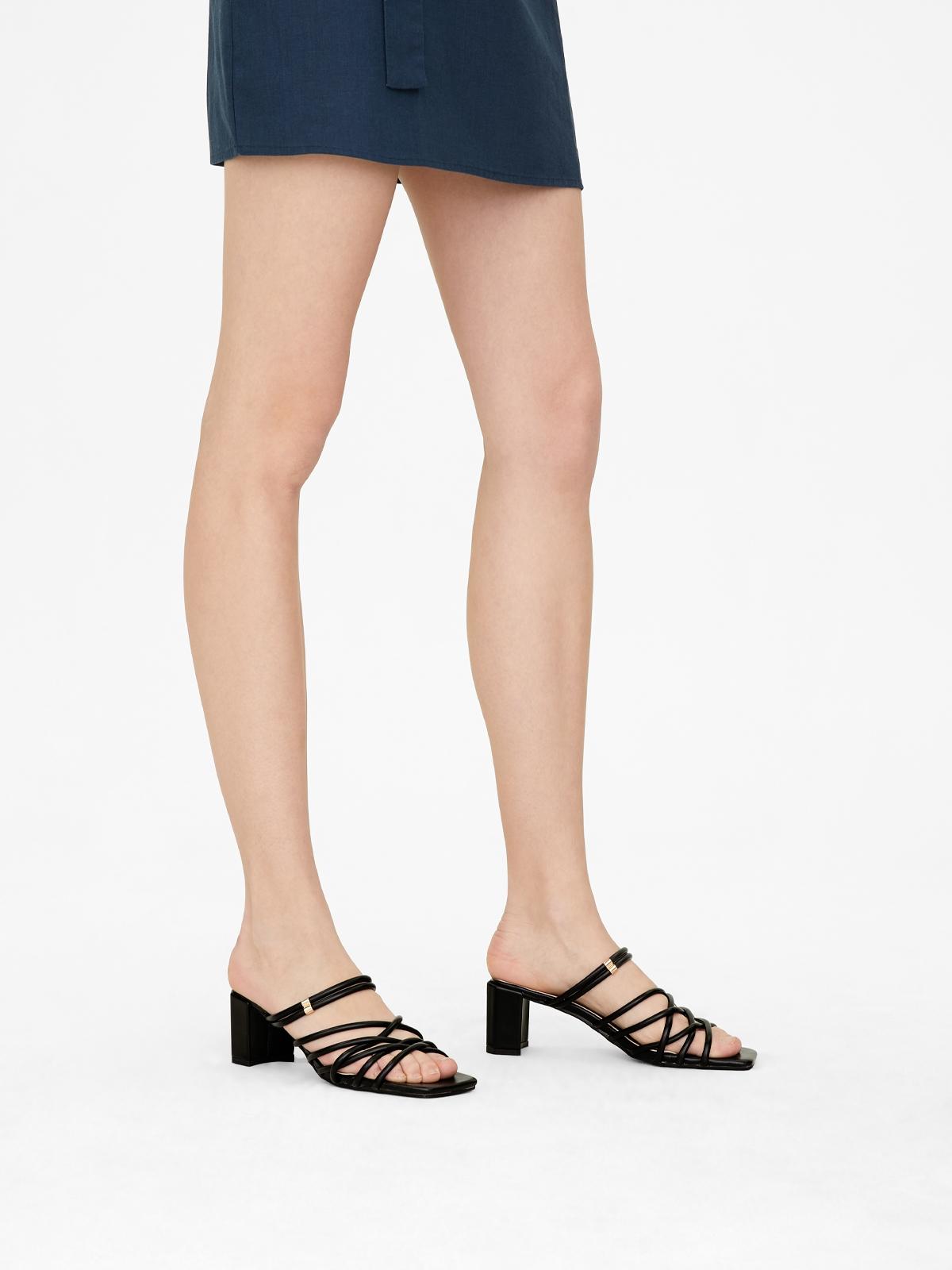 Rocket Strappy Squared Toe Heels Black