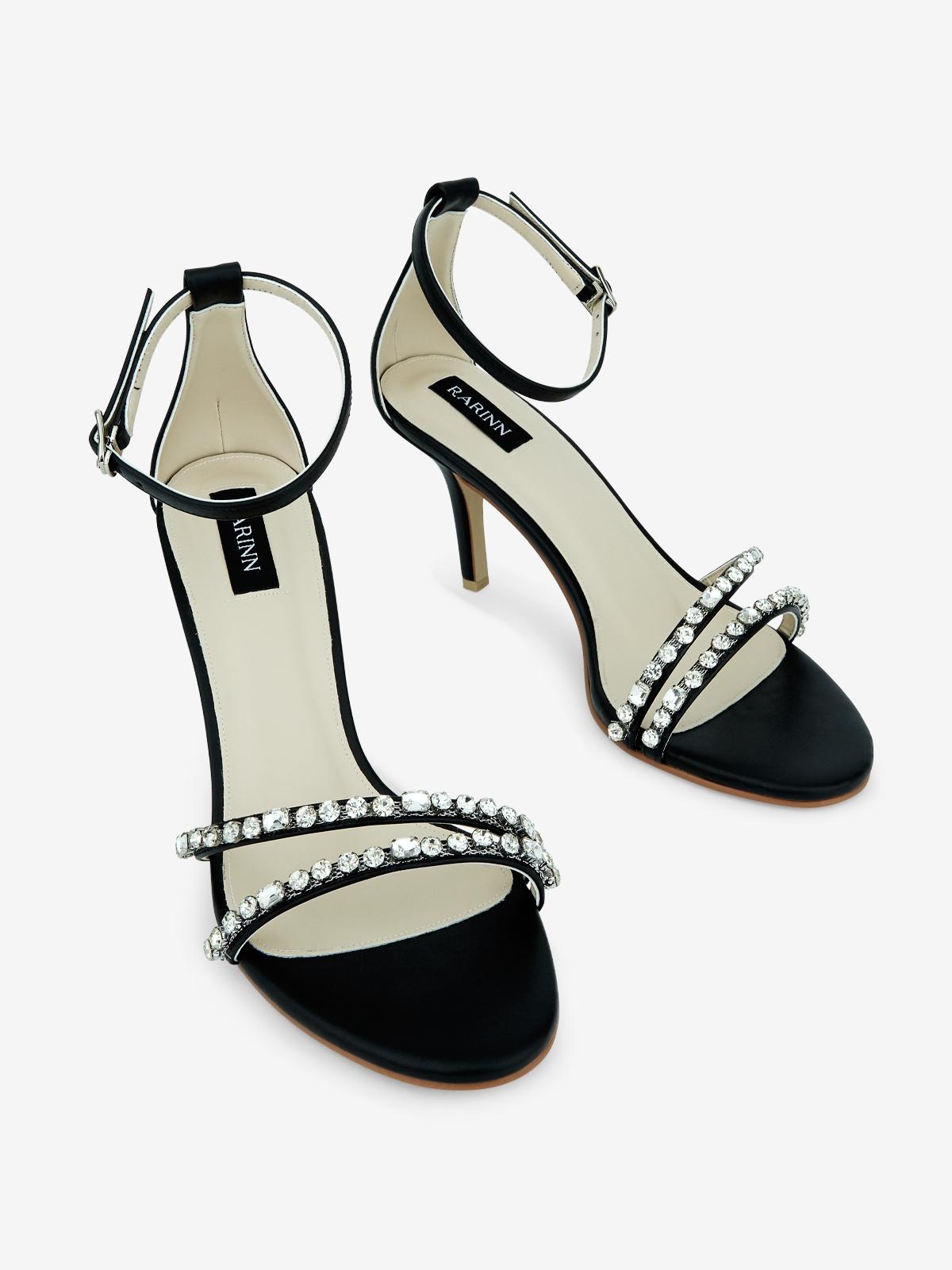 Rarinn Diamante Strap Heels Black