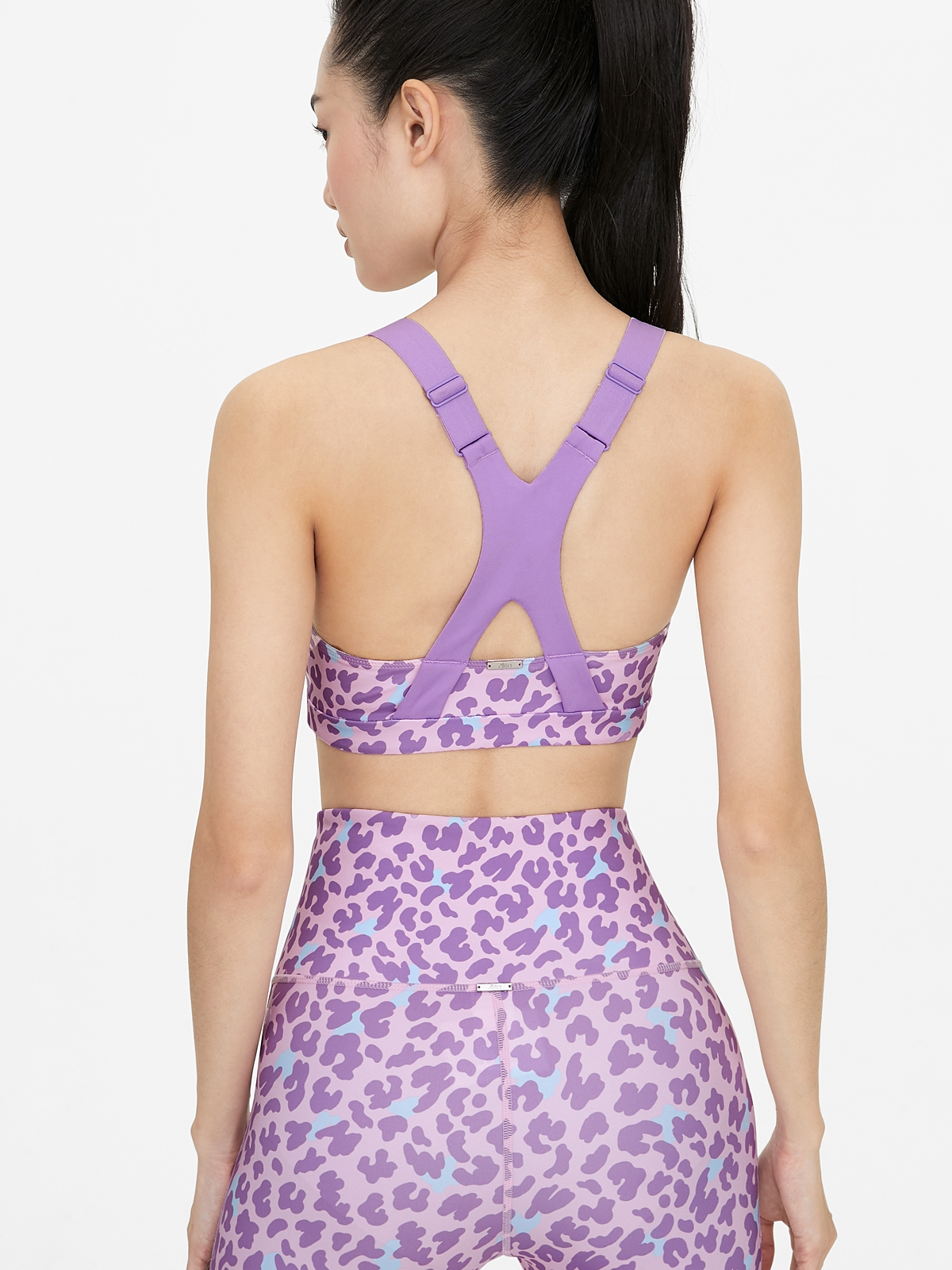 Scoop Neck Leopard Print Sports Bra Purple