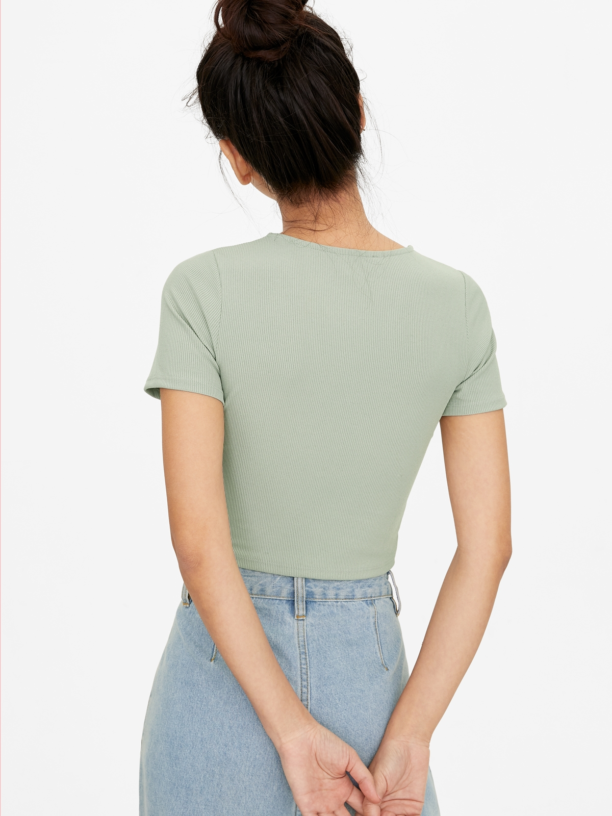 Ringed Neckline Ribbed Tee Green