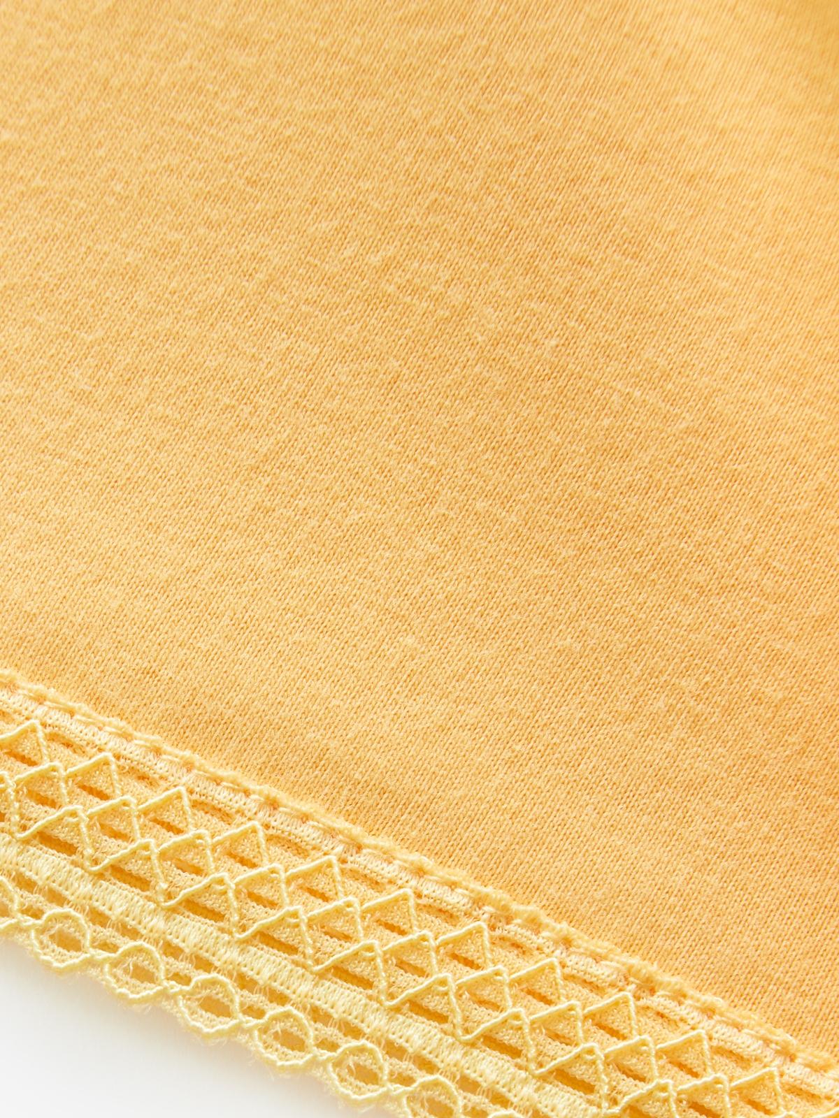 Crop Crochet Detail Sleeves Orange