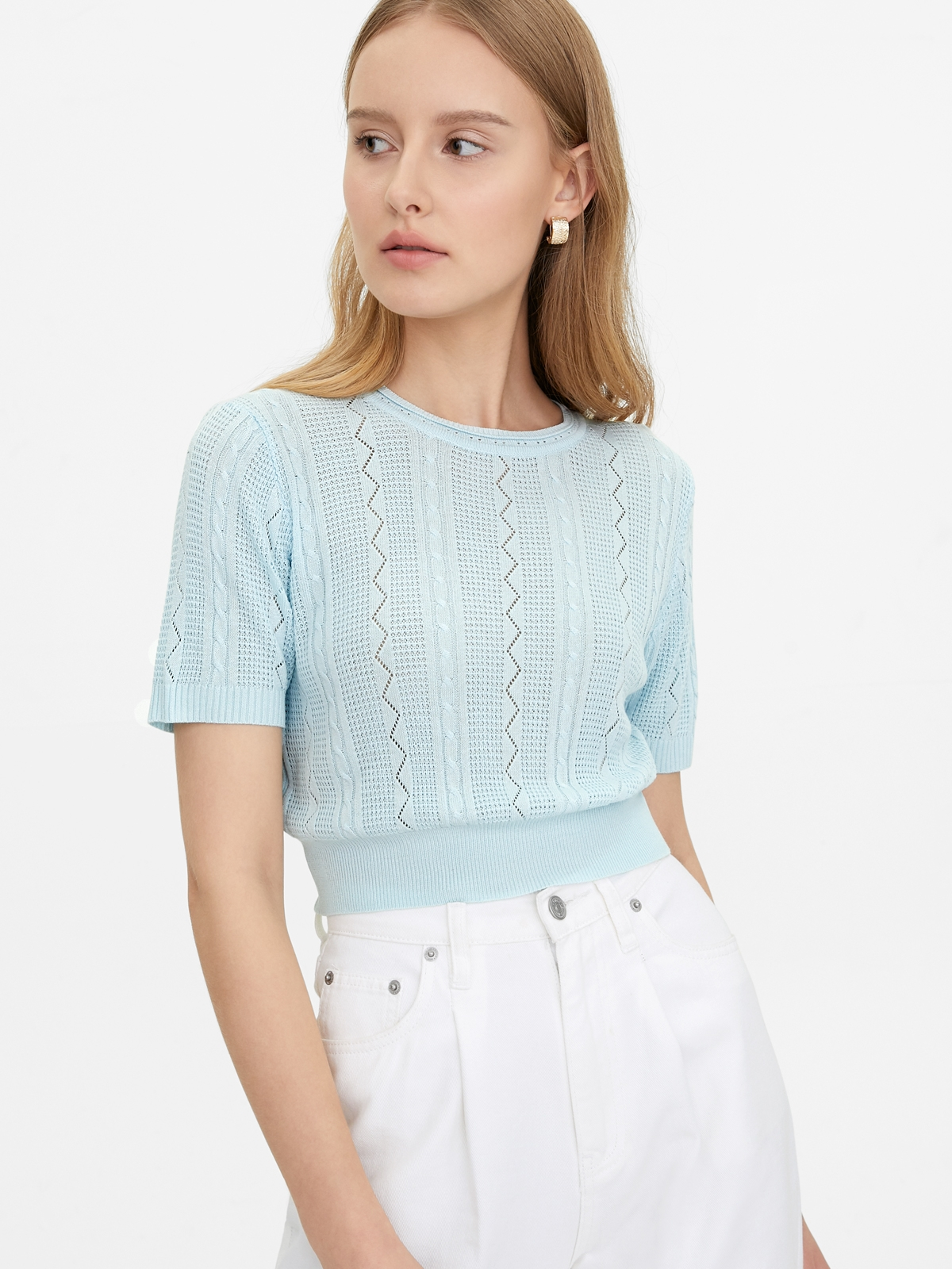 Knitted Crop Top Blue