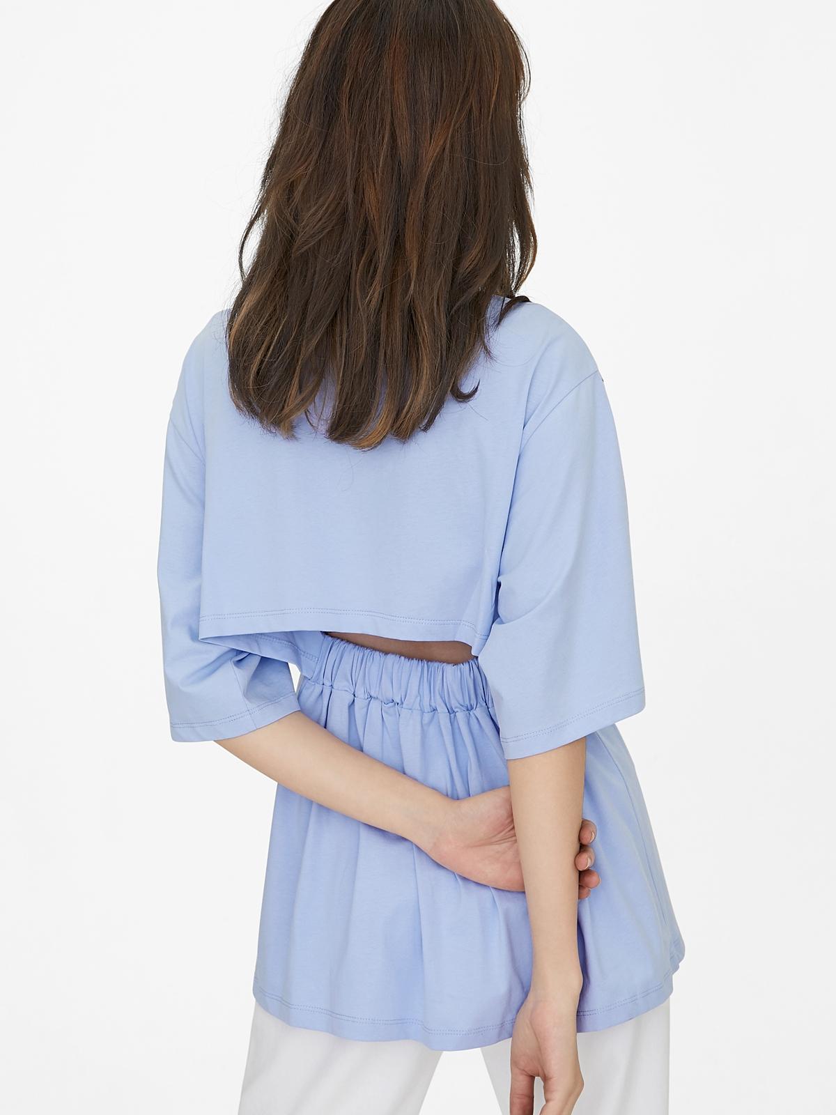 Oversized Open Back Tee Blue