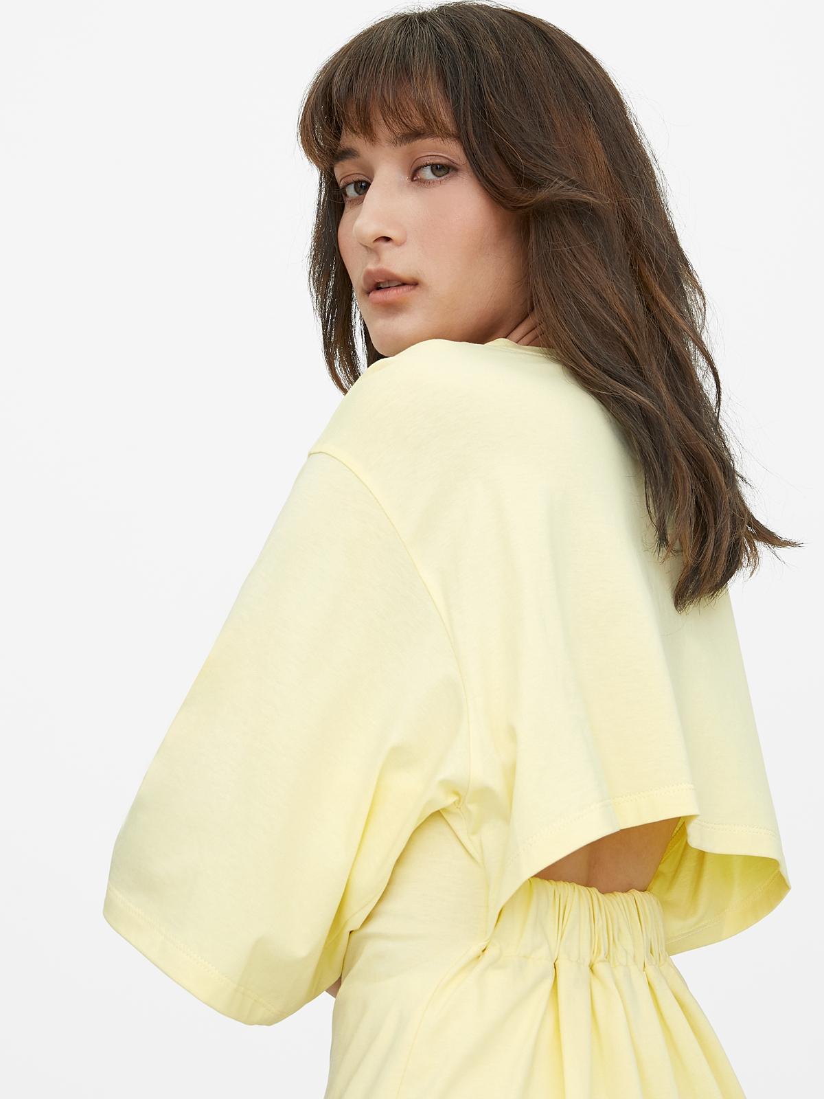 Oversized Open Back Tee Yellow