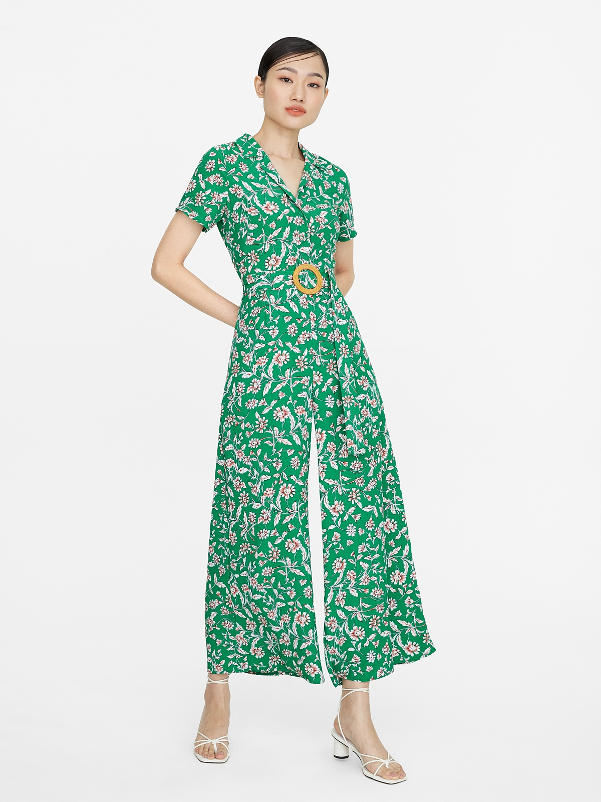 Floral Oval Buckle Jumpsuit Green