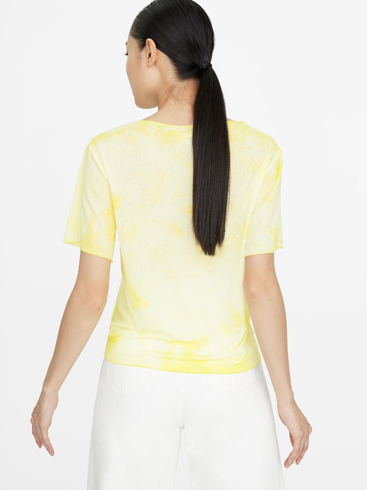 V Neck Tie Dye Top Yellow