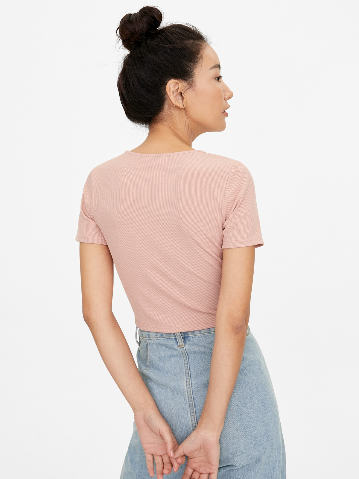 Ringed Neckline Ribbed Tee Pink