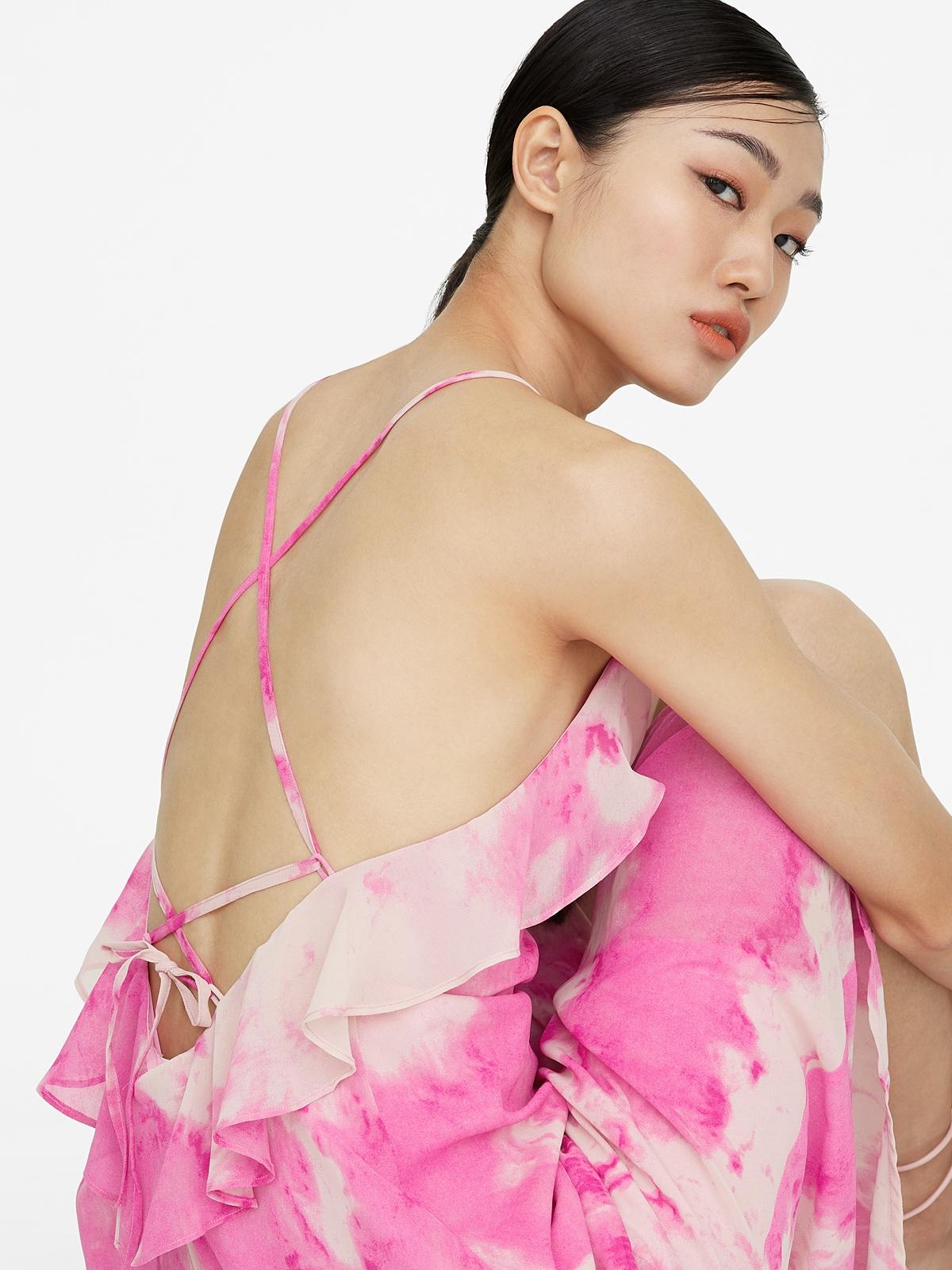 Midi Tie Dye Open Back Dress Pink