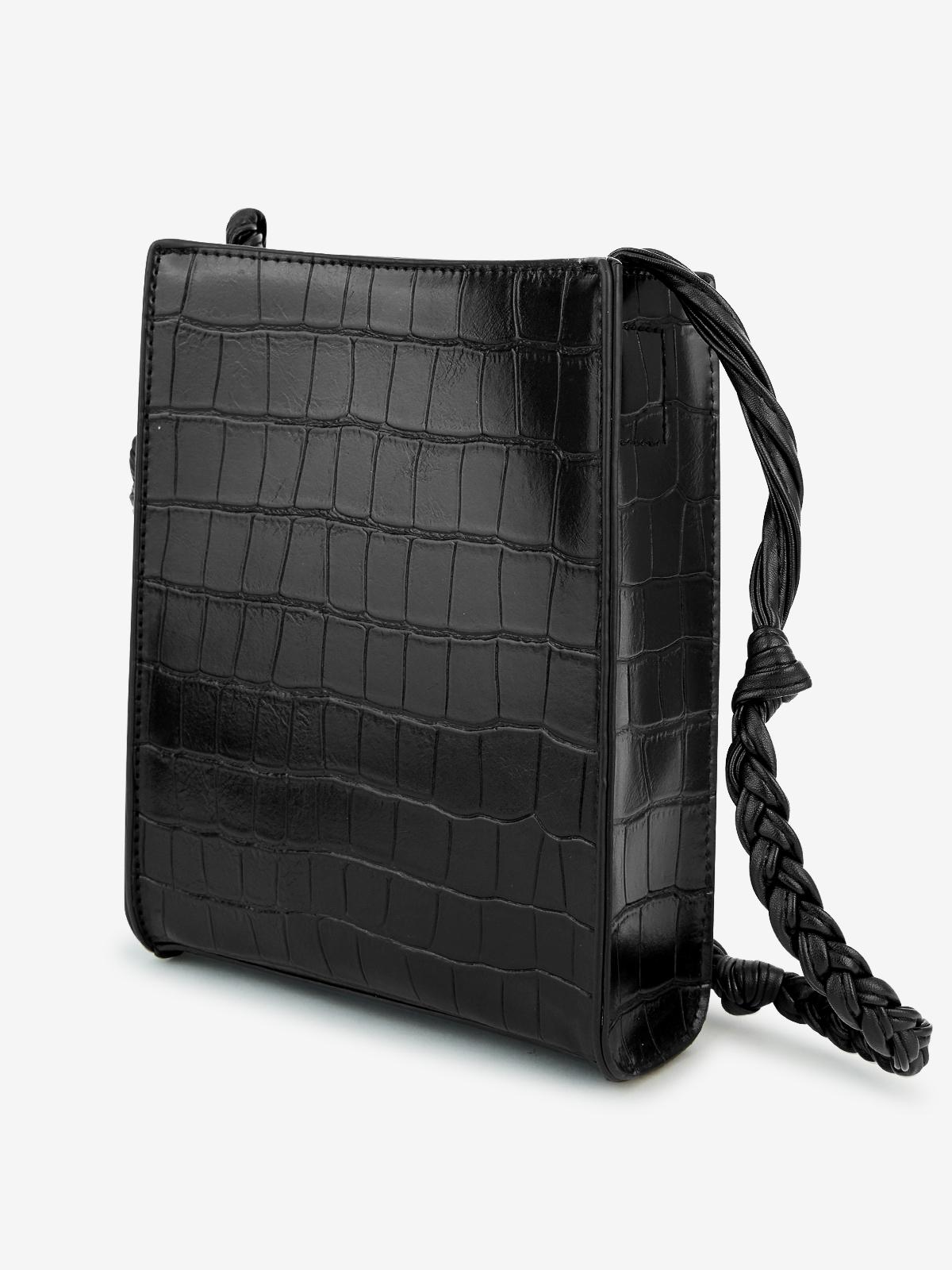 Croc Embossed Crossbody Bag Black