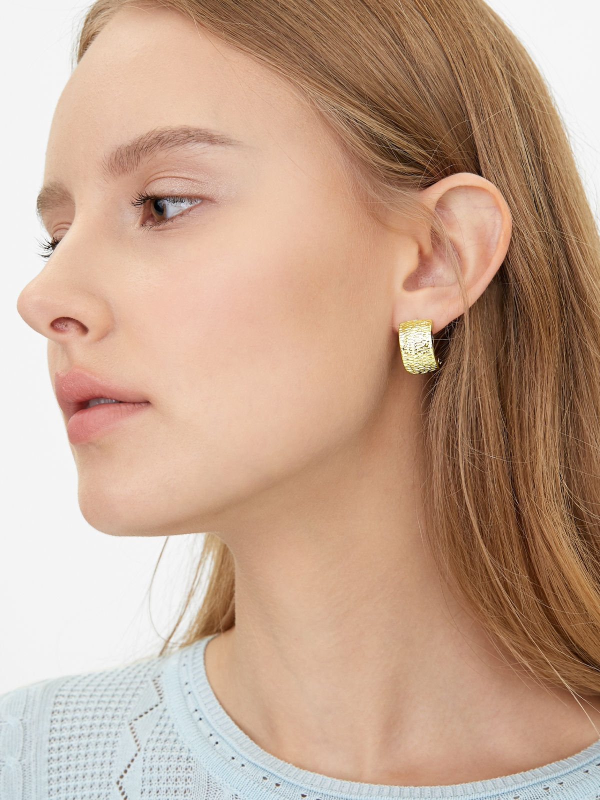 Abstract Plate Drop Earrings Gold