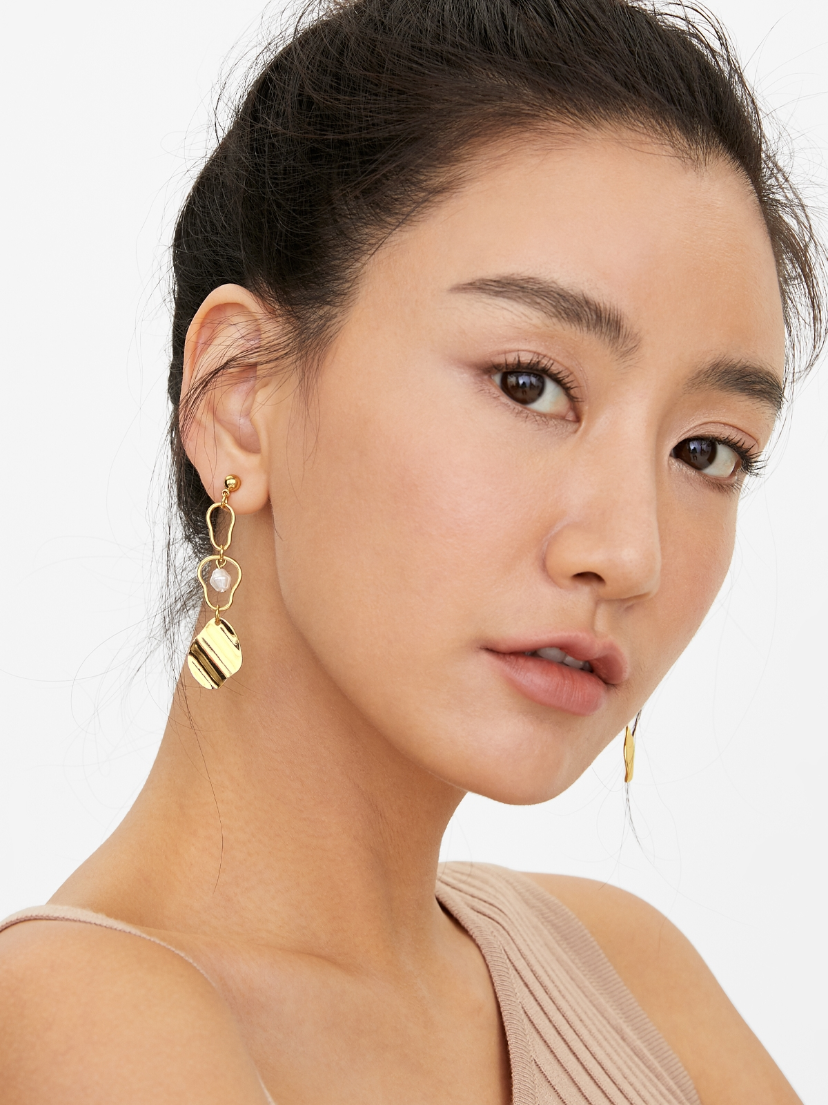 Curve Plated Earrings Gold
