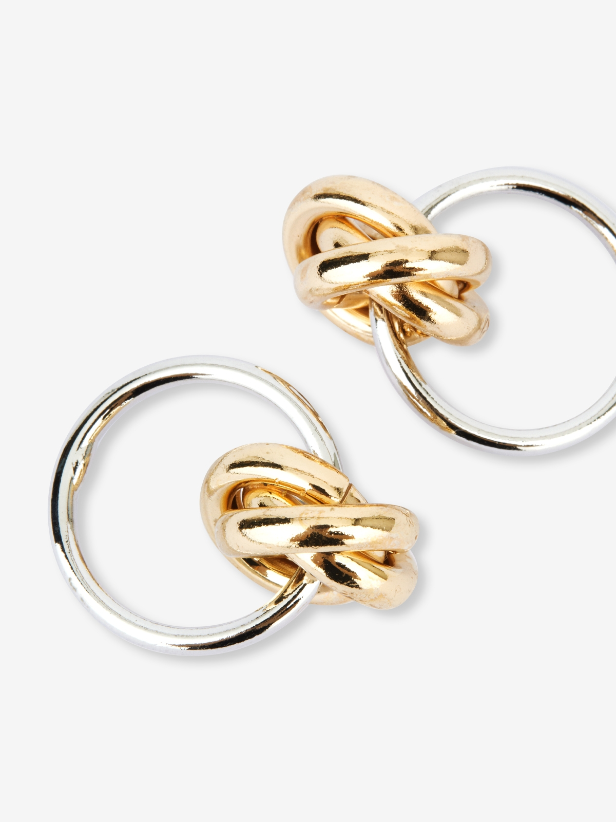 Two Tone Circular Double Hoop Earrings Gold