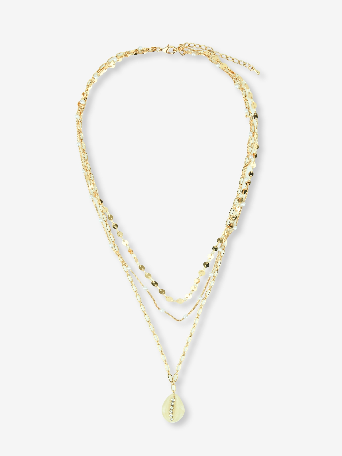 Multiple Chain Necklace With Seashell Charm Gold