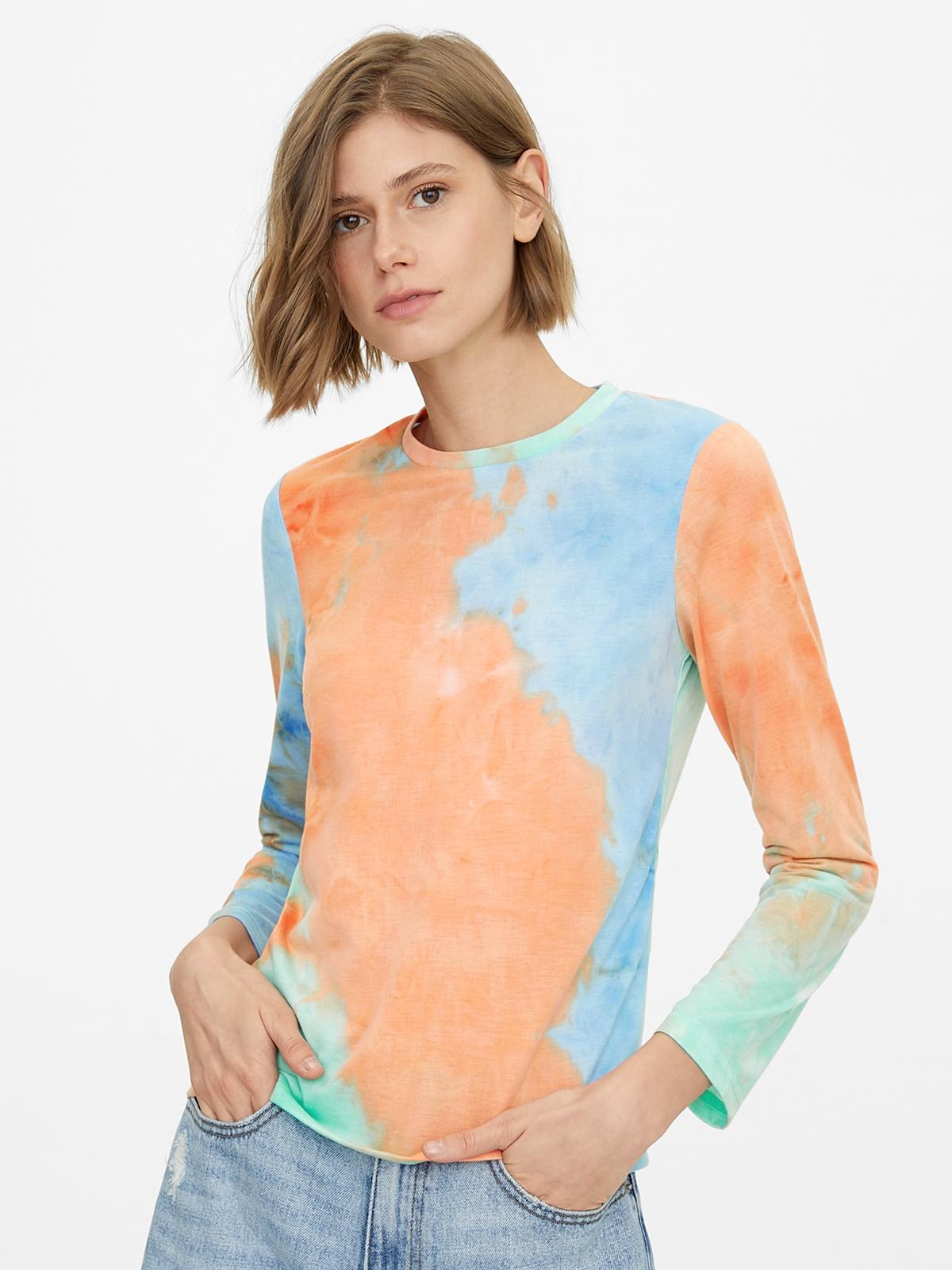 Tie Dye Long Sleeve Blouse Blue