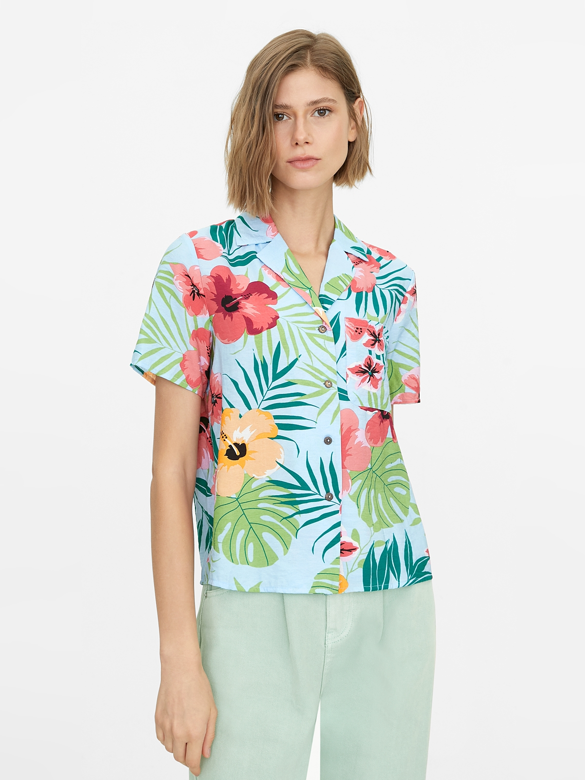 Tropical Print Buttoned Shirt Blue