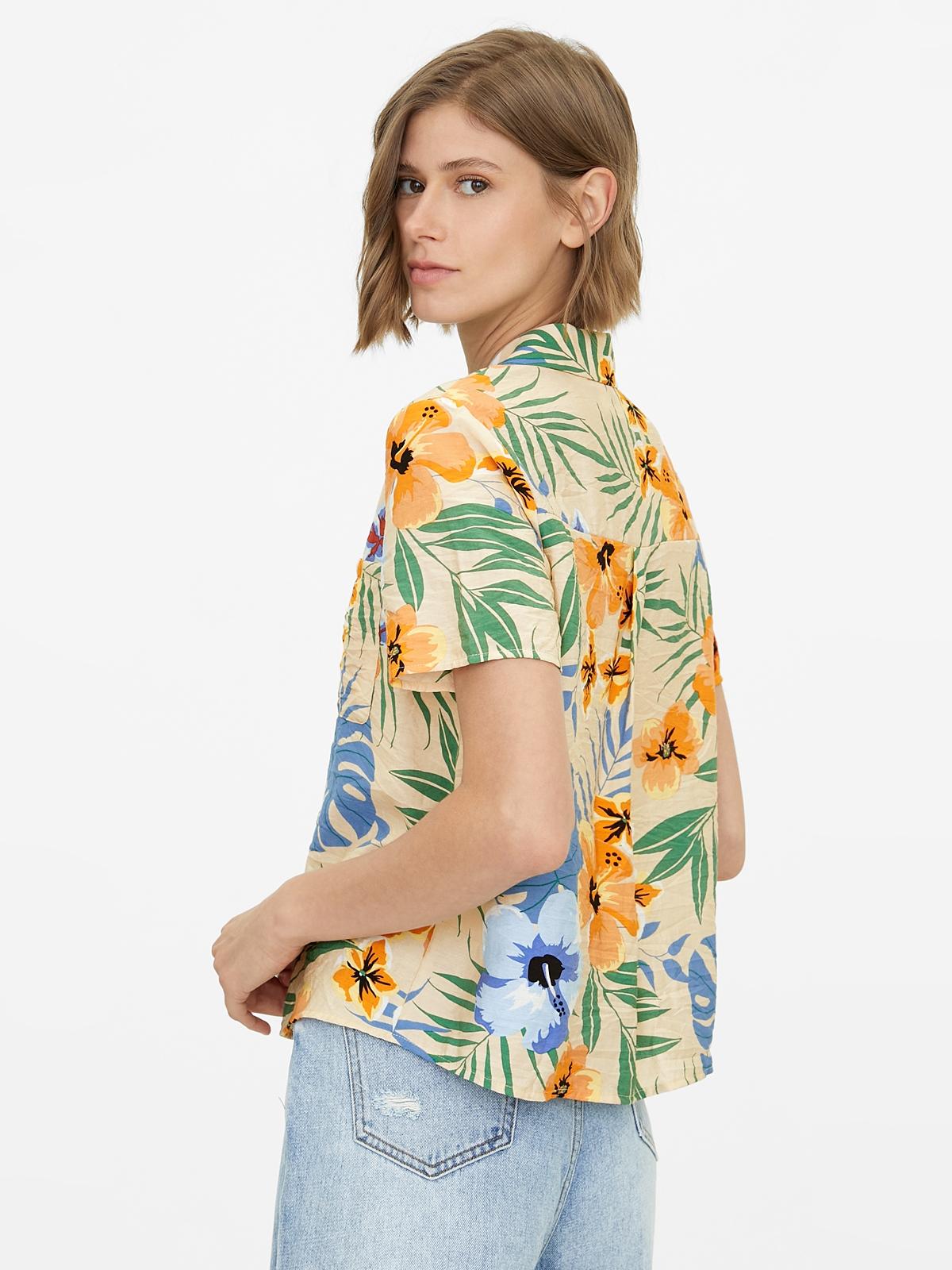 Tropical Print Buttoned Shirt Cream